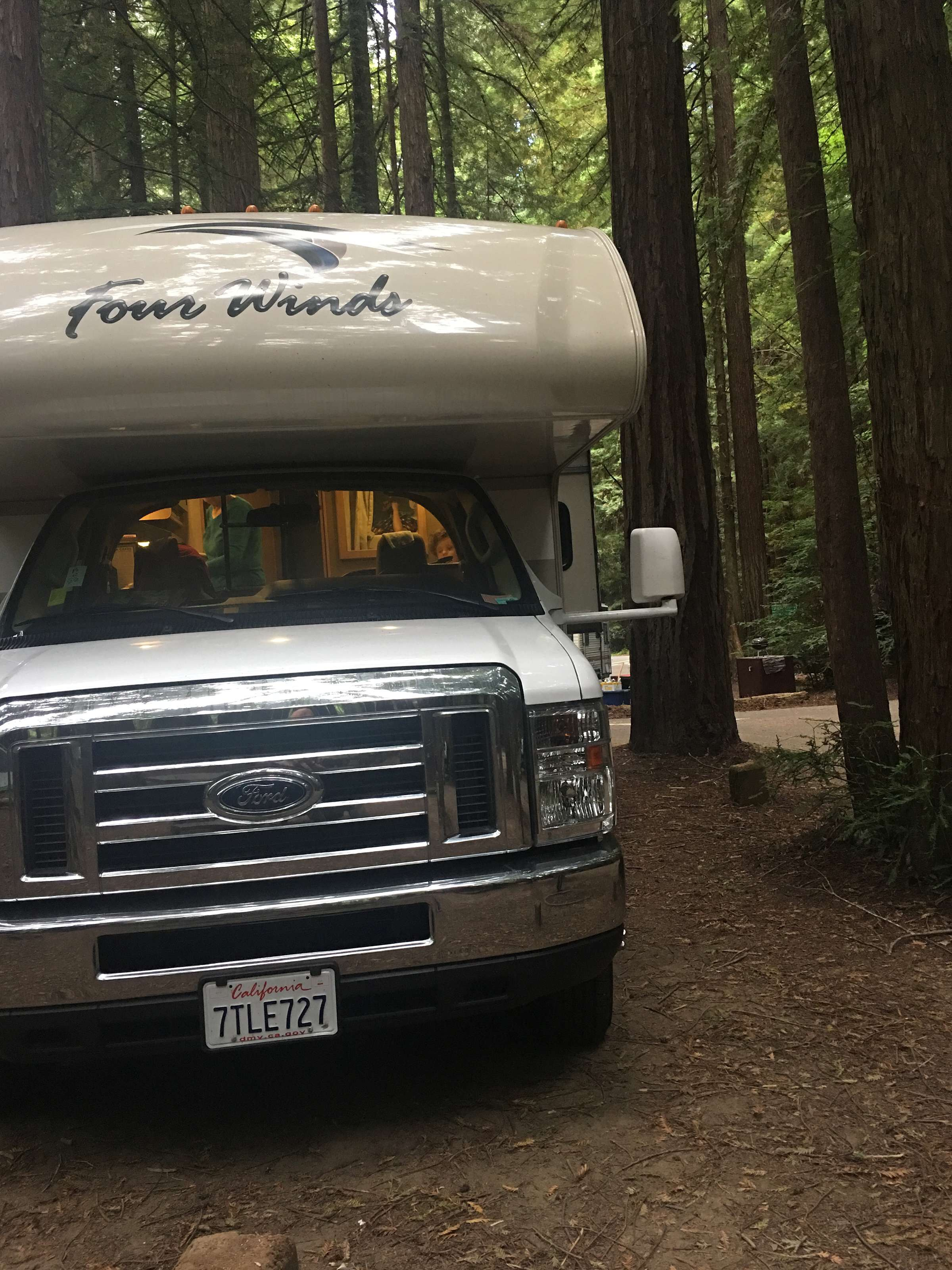 Dusk in the redwoods!. Thor Motor Coach Fourwinds 2017
