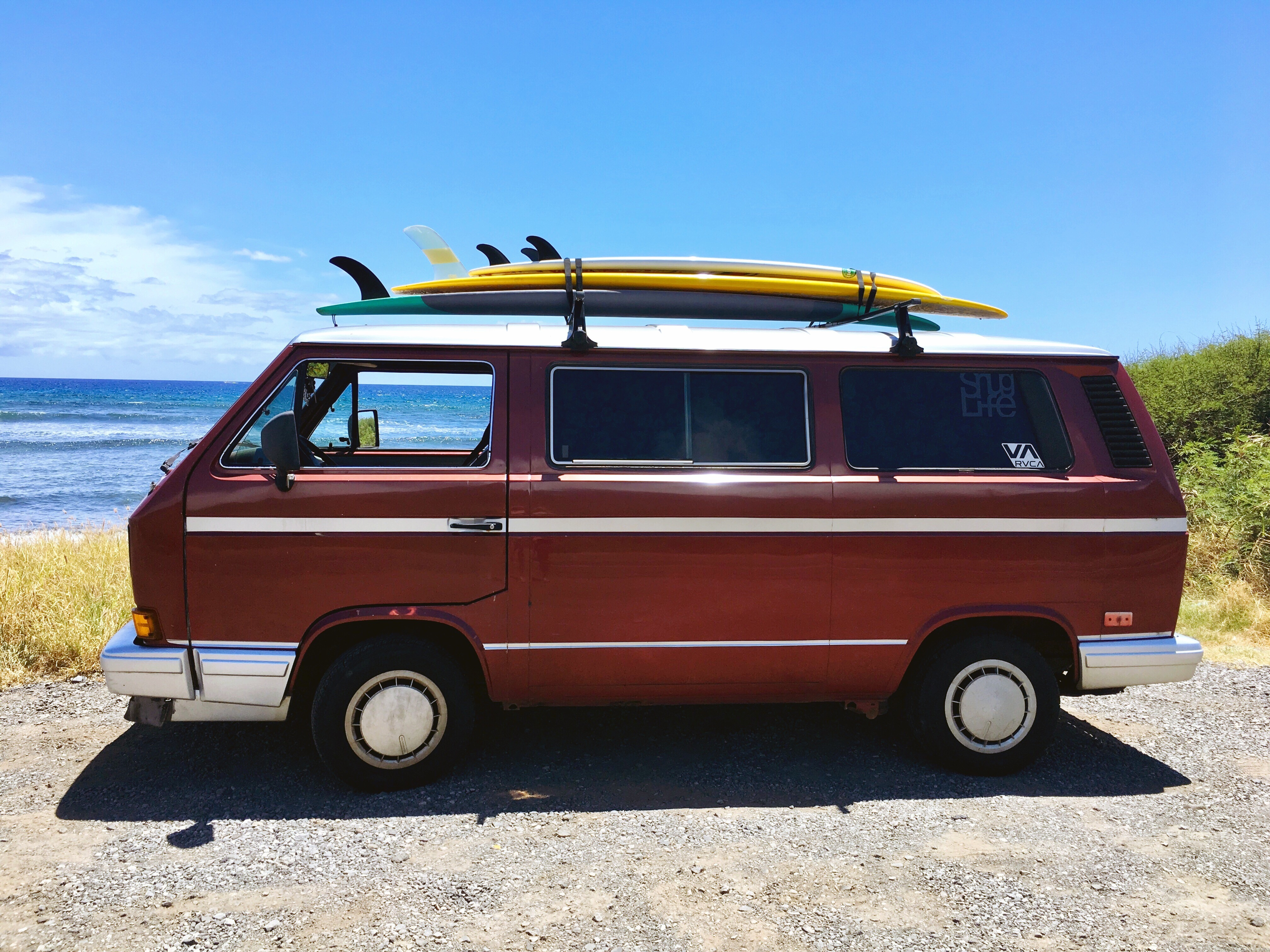Boards loaded... get ready to travel like a local. Maui Style!. Volkswagen Vanagon 1988