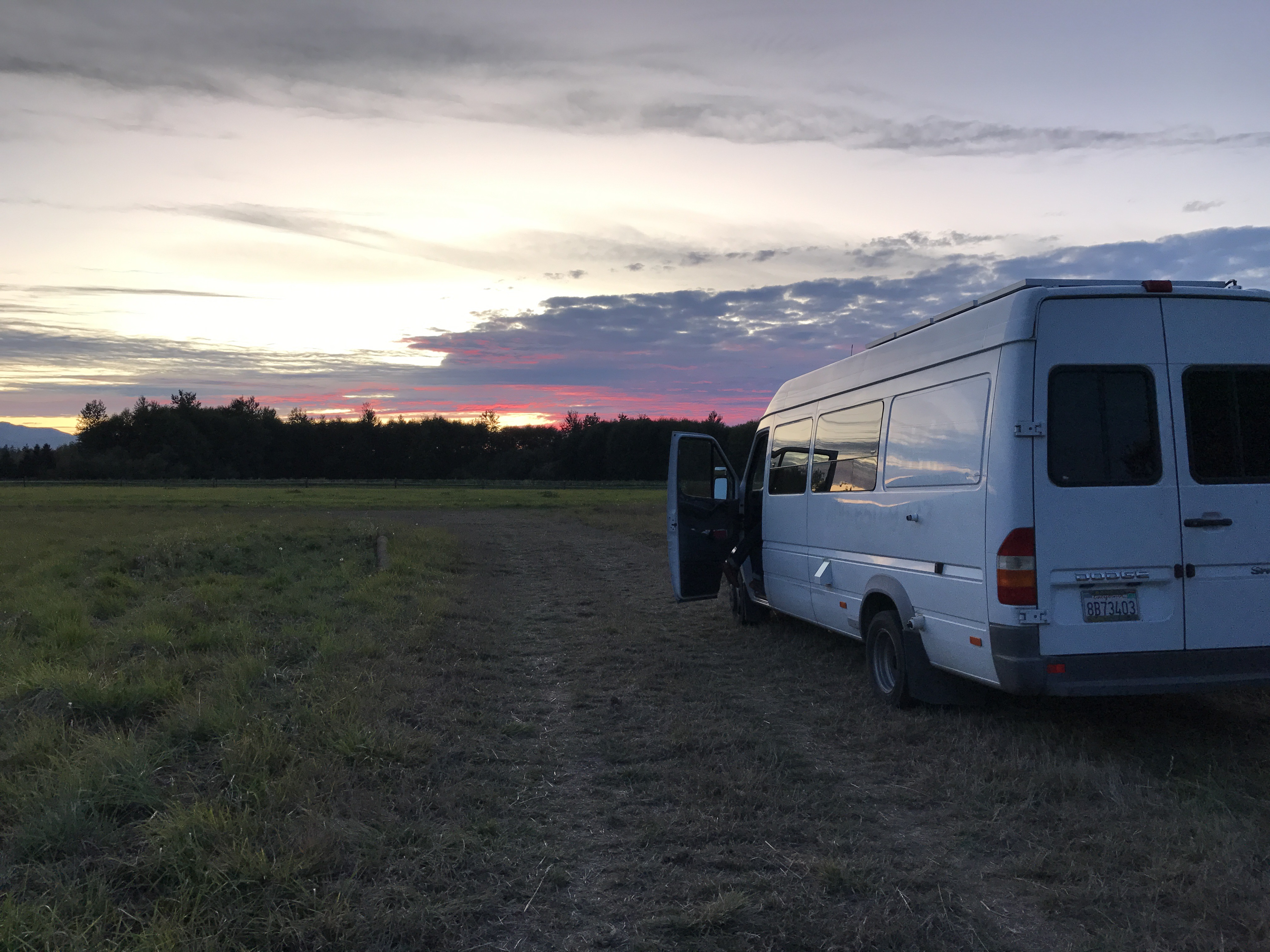 Van at sunset on a farm in Sequim, WA. Dodge Sprinter Van 2005