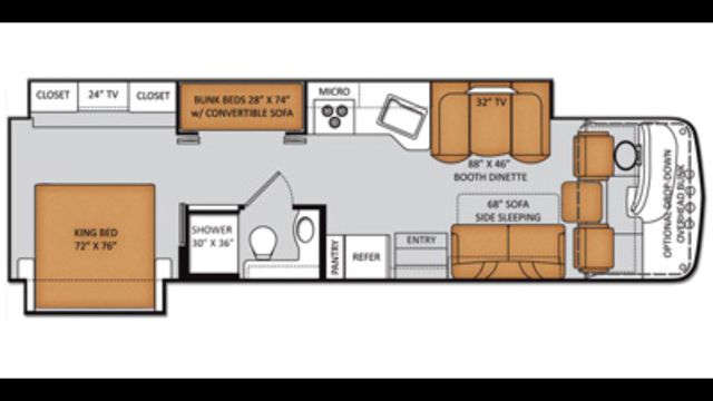 Floor plan. Sleeps 8-10. Couch has been replaced with recliners.. Thor Motor Coach Miramar 34.3 2014