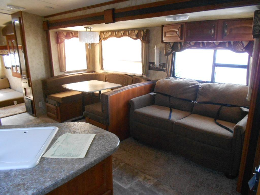 Interior image: this is what you see when you first walk into the trailer door. . cougar keystone cougar 31SQB 2012