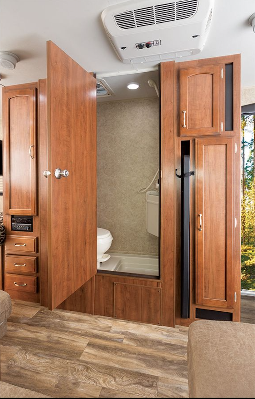 Closet, drawers for clothes, a wet bath, toilet, shower, table for outside and pantry. . Jayco Baja 2017