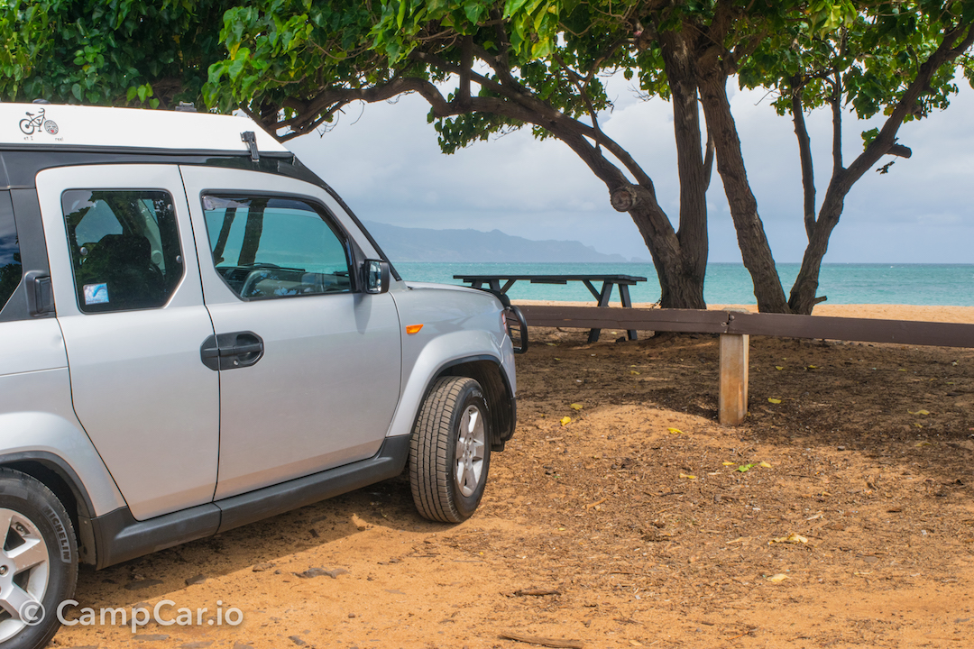 Maui Beach Camping is easy with Lulu2, just drive up and pop the built-in rooftop tent!. Honda Element eCamper by Ursa Minor Lulu #2  Silver 2010