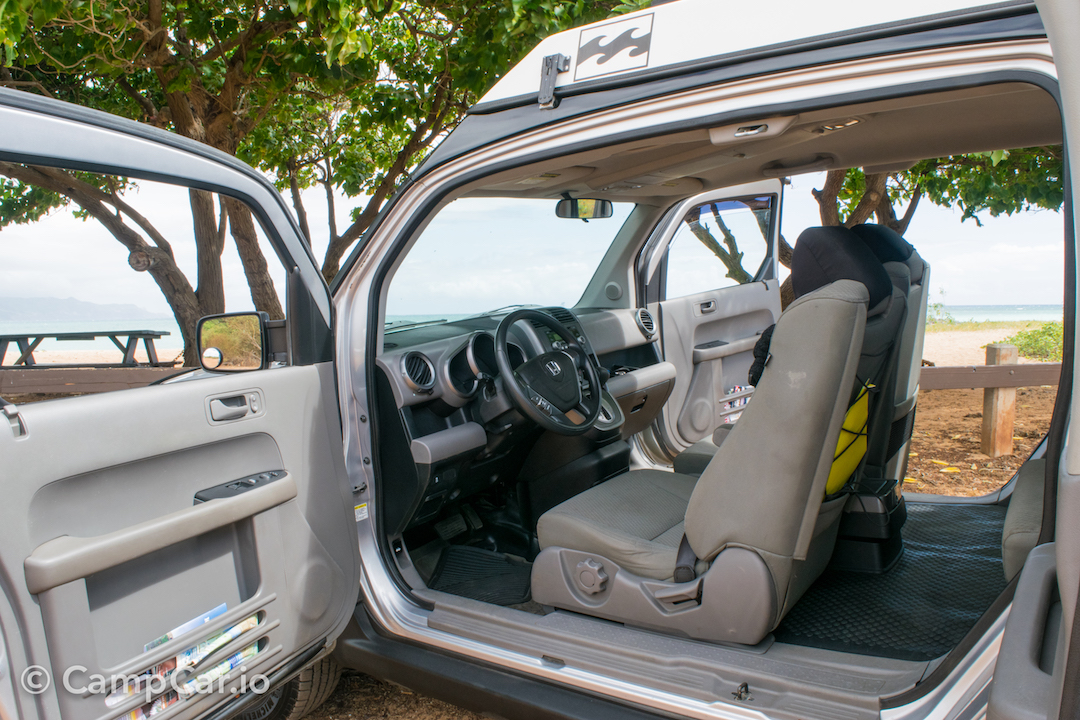 Spacious interior with wide open access let you take in the views from any seat!. Honda Element eCamper by Ursa Minor Lulu #2  Silver 2010