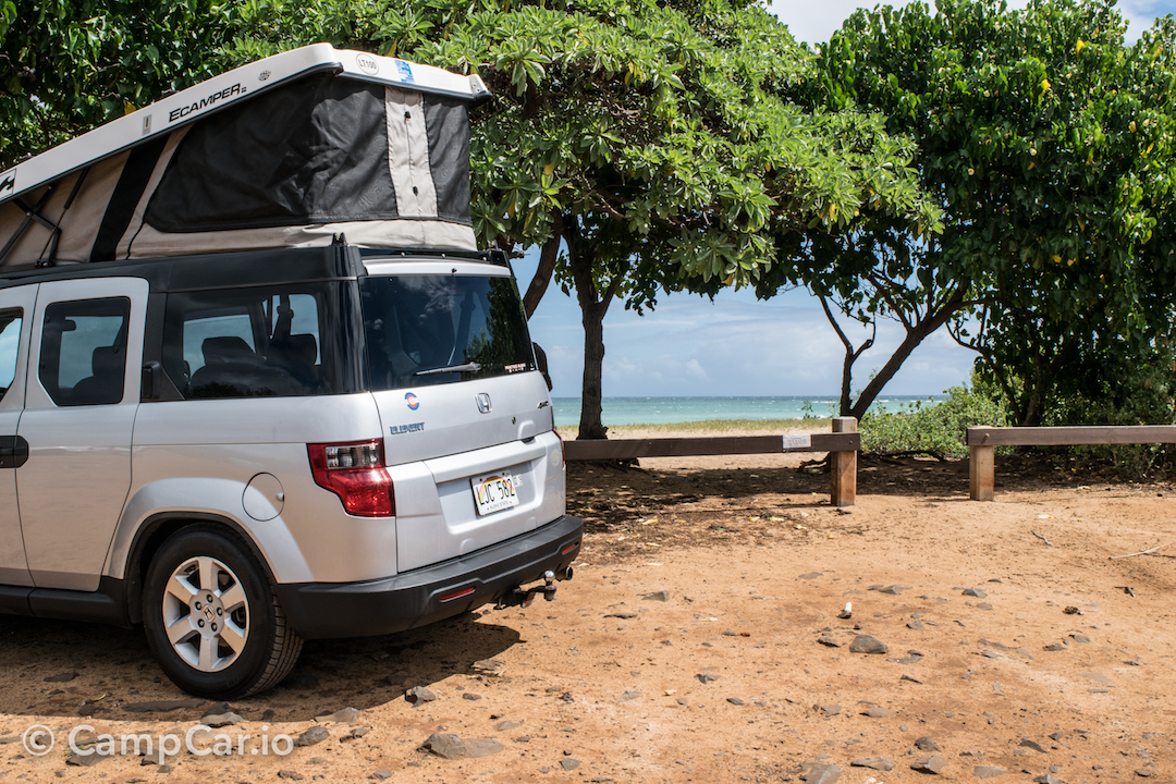 Spacious sleeping space in the rooftop tent!. Honda Element eCamper by Ursa Minor Lulu #2  Silver 2010