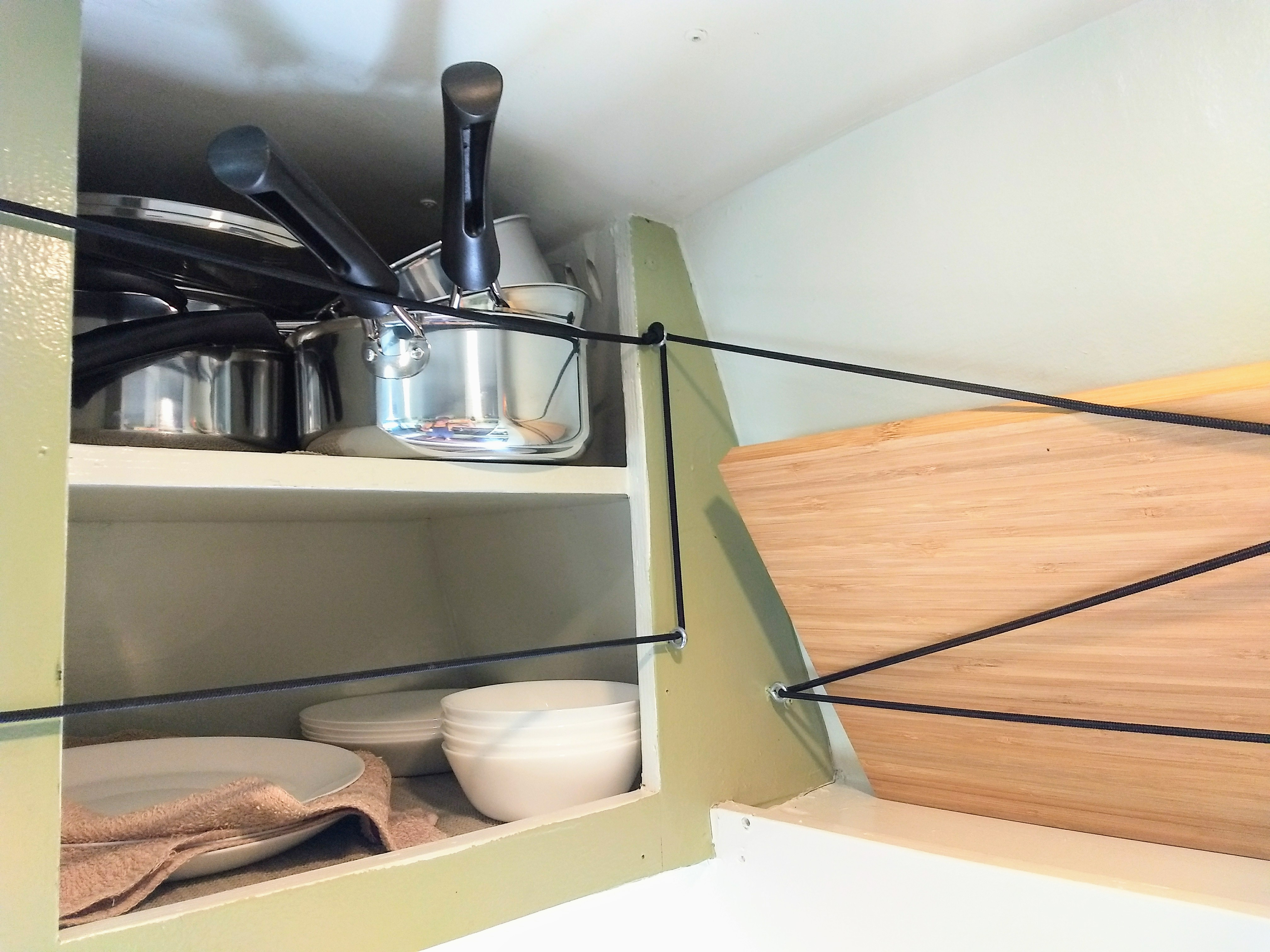 Cookware, dinnerware and a stove are provided for each trip.