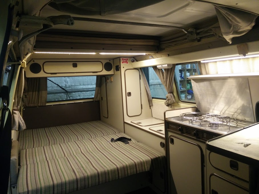 In this picture we have the back seat down ready for a good nights sleep. Plenty of room for 2.. Volkswagen Westfalia 1982