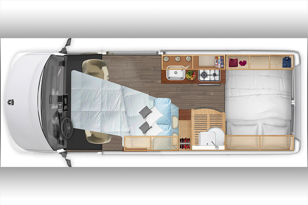 Night time layout with optional front bed.. Hymer Aktiv 2018