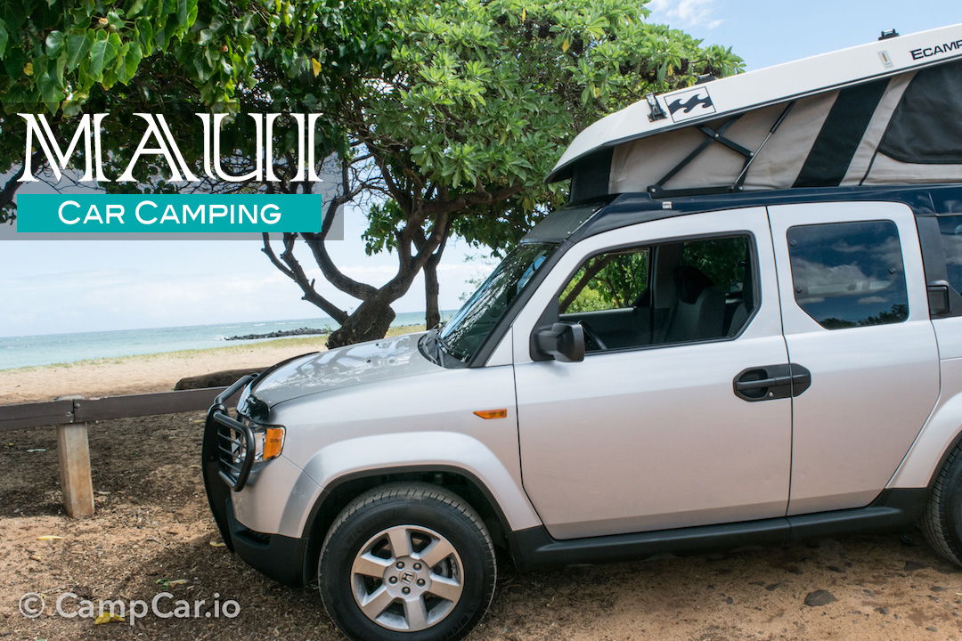 Maui beach camping is fun and easy in Lulu2 (Honda Element) with built-in pop-up roof top tent!. Honda Element eCamper by Ursa Minor Lulu #2  Silver 2010