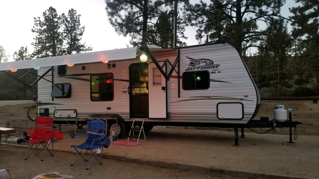 Lake Hemet Campground, in California and decorated for the weekend.. Jayco Jay Flight 2017