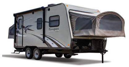 "Queen size beds ""pop out"" on front and rear. . Keystone Passport 2016"
