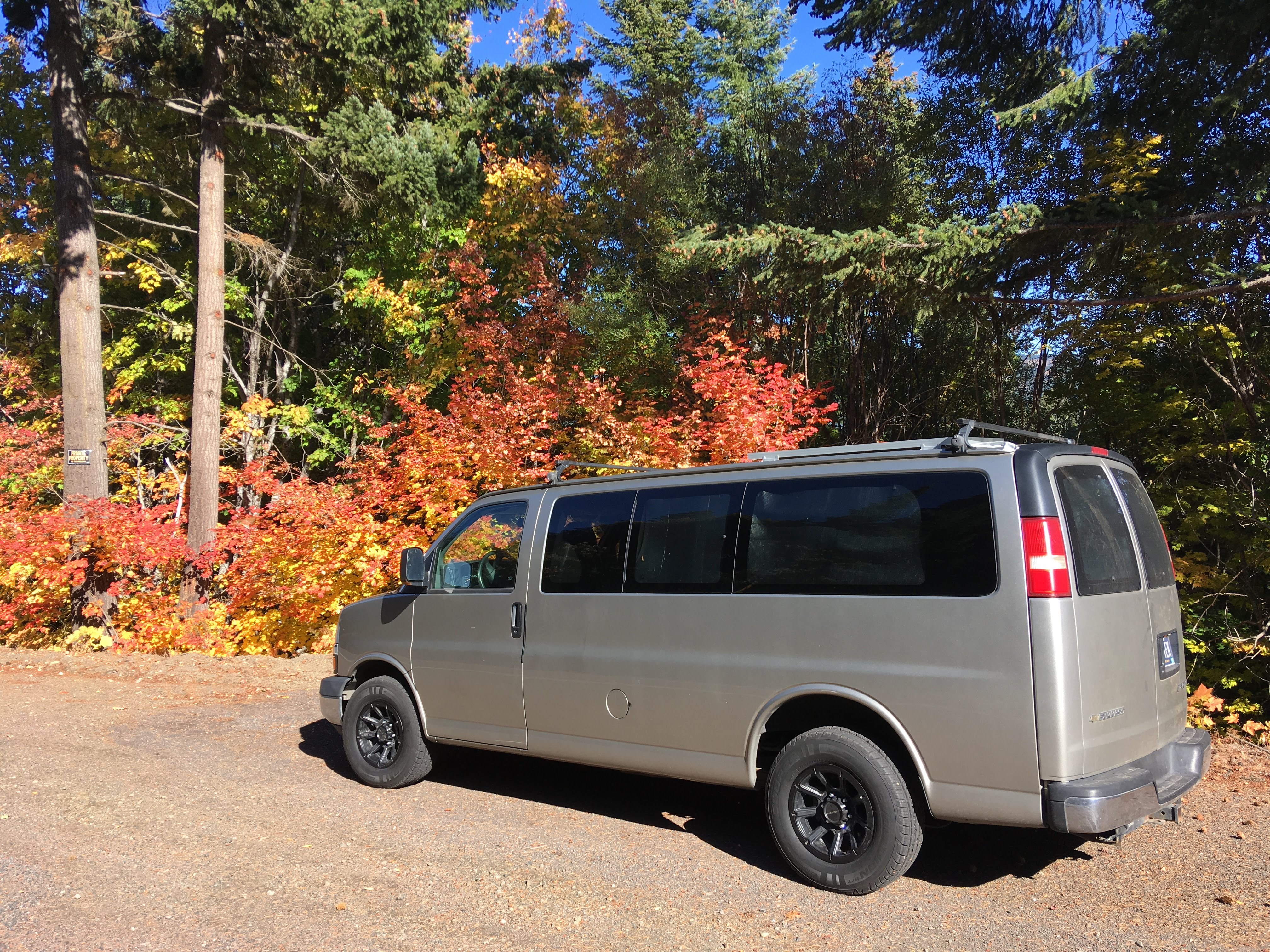 Beautiful fall colors on Hwy 281 above Parkdale, OR.. Chevrolet Express Custom 2003