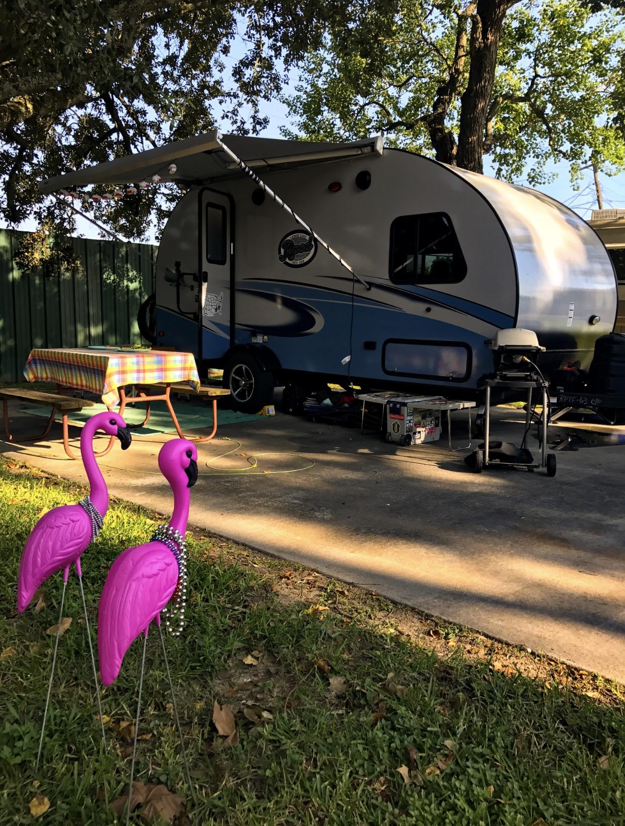 Flamingos come standard! -Actual travel trailer setup!