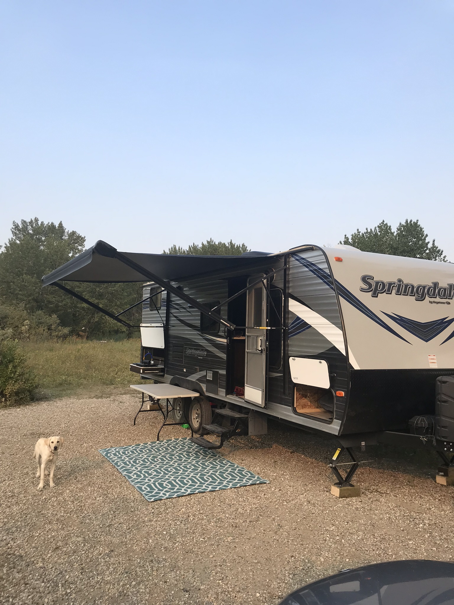 16 foot electric awning with ample amount of storage . Keystone Springdale 2019