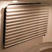 Adjustable blinds - slide up or down. Slide up and open the window.