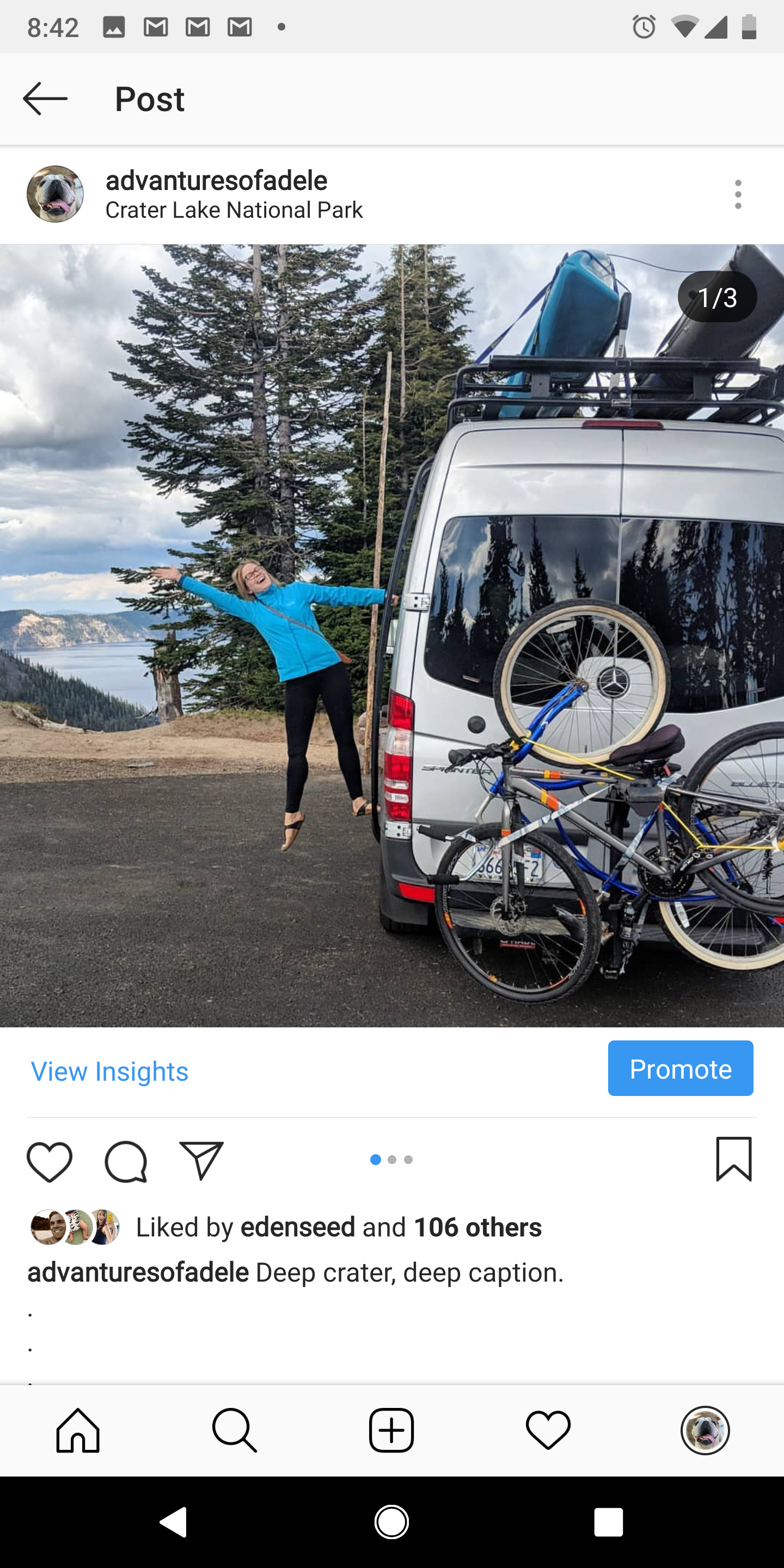 The wife showing off the bike rack in front of Crater Lake.  (bike rack can be rented as well, holds 4 bikes).  . Mercedes-Benz Sprinter 2016