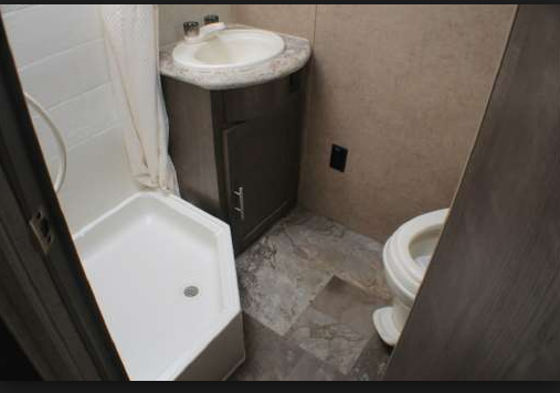 Roomy bathroom...also has a hair dryer.. Forest River R-Pod 183G 2016