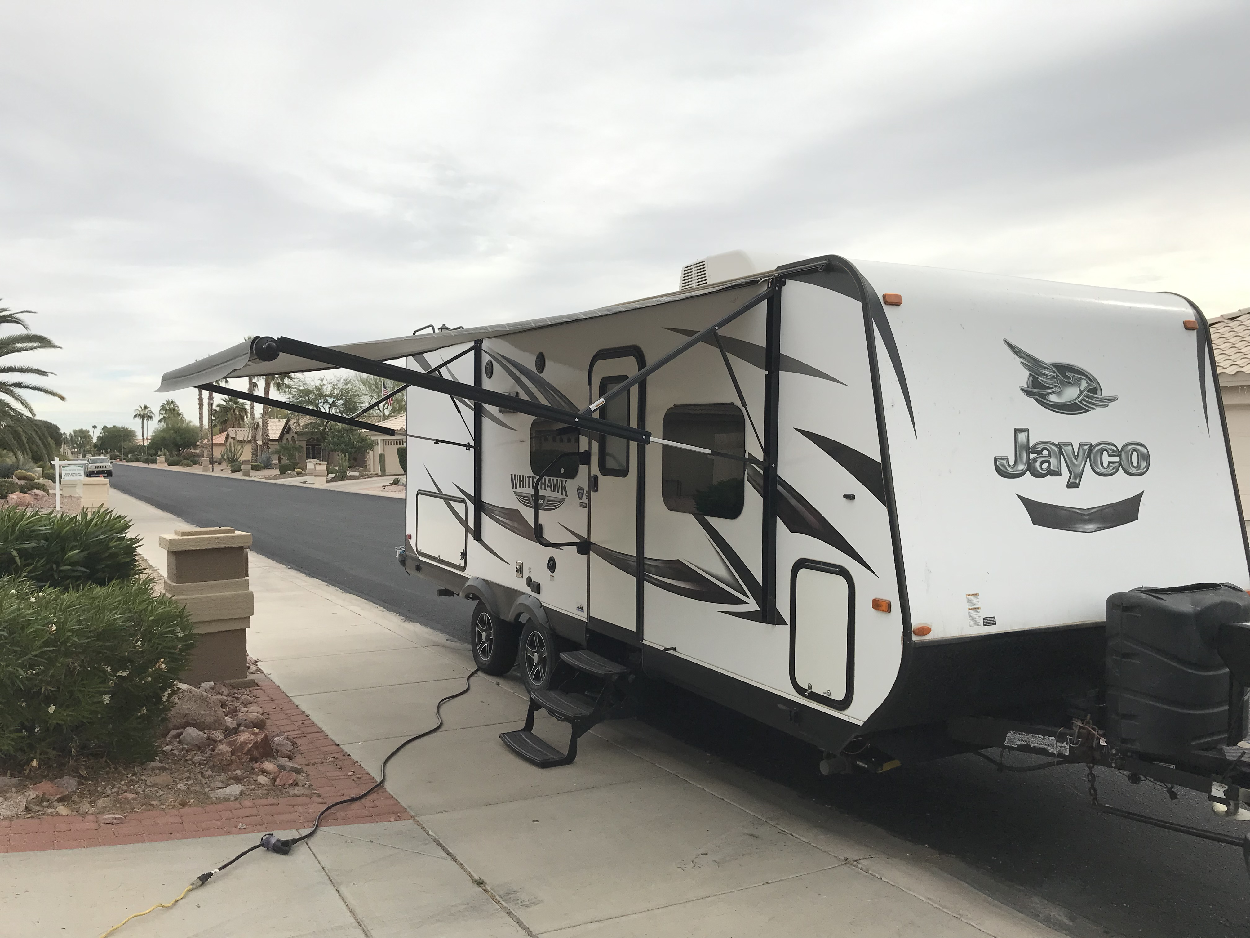 Power awning extended. Jayco White Hawk 23MRB 2016