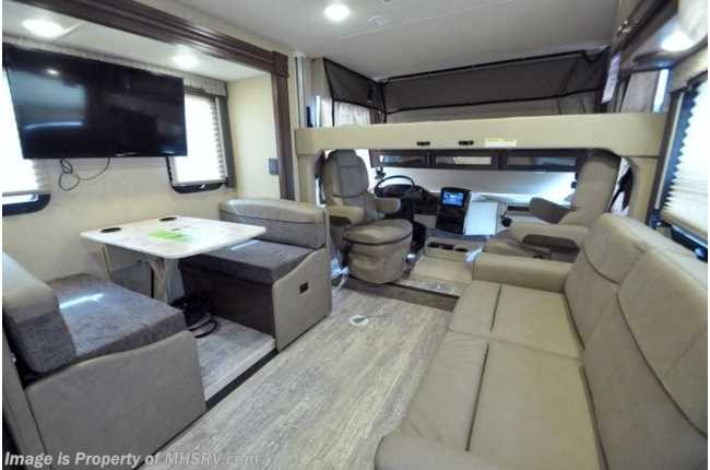 Whispering Wind Brand New Custom 2019 Endeavor 38W 2019 Sleeps 7 2  Bathrooms King Master + Queen Bunk drops down Fire Place 3 Slides Luxurious  Bus