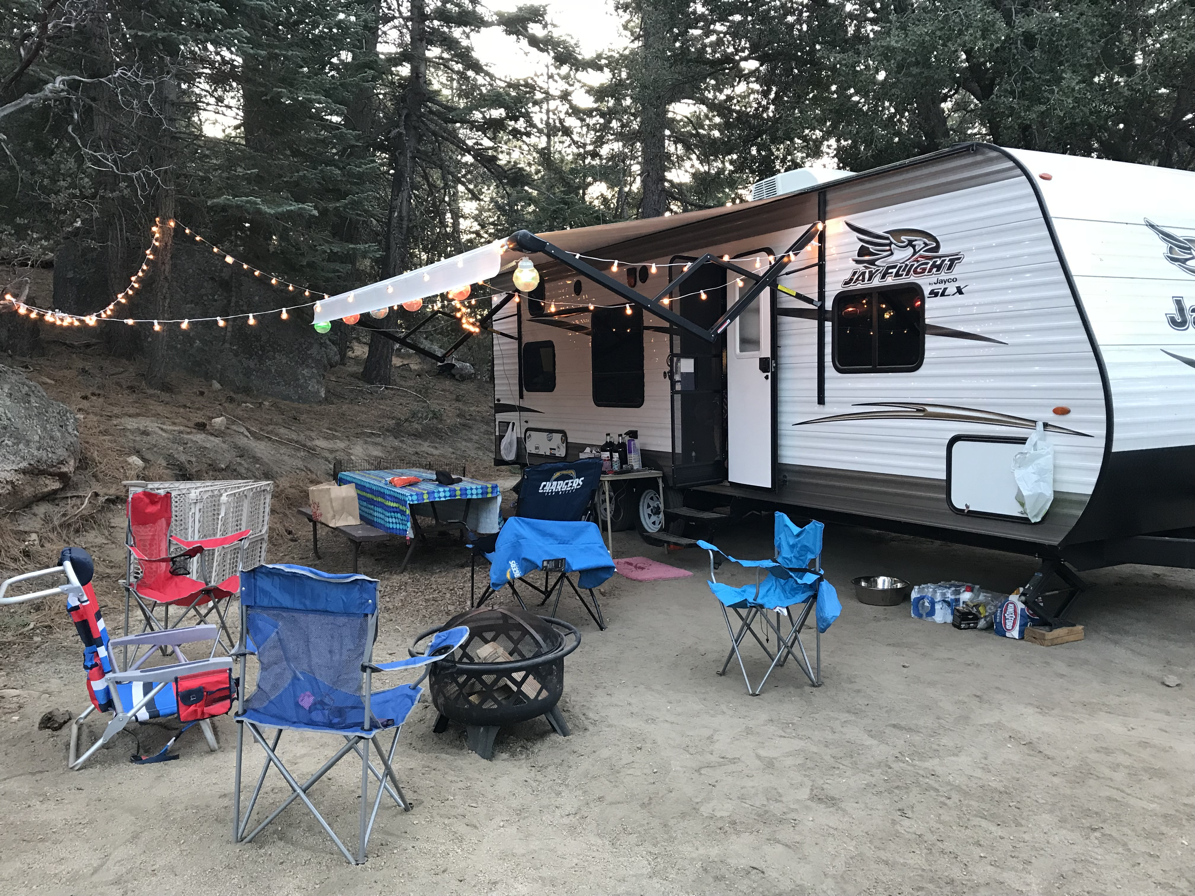 Idyllwild Campground in California with lots of friends and fun weekend! Hiked and had 3 dogs with us! . Jayco Jay Flight 2017
