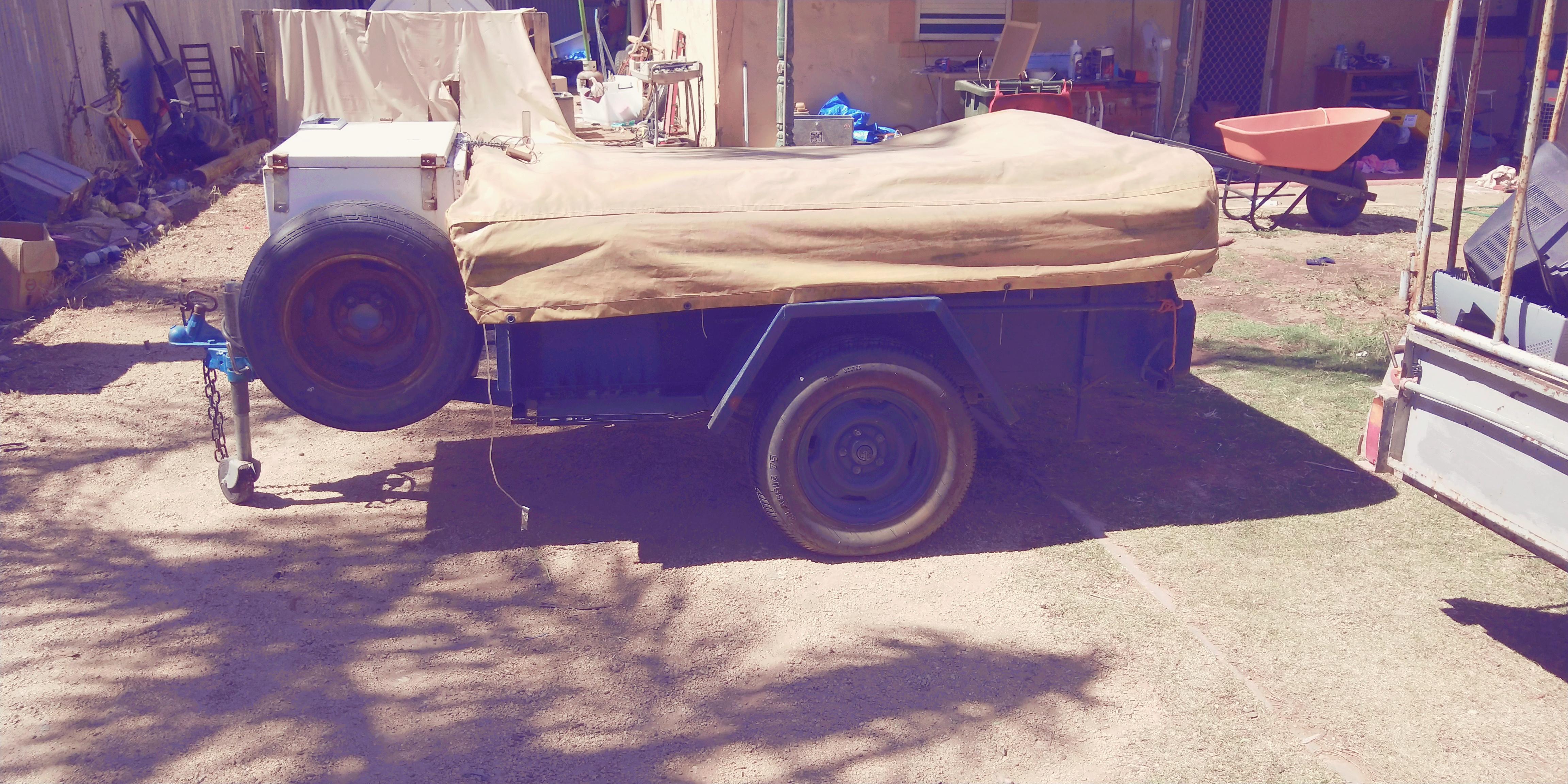 Folded up for transport . Custom Camper 1990