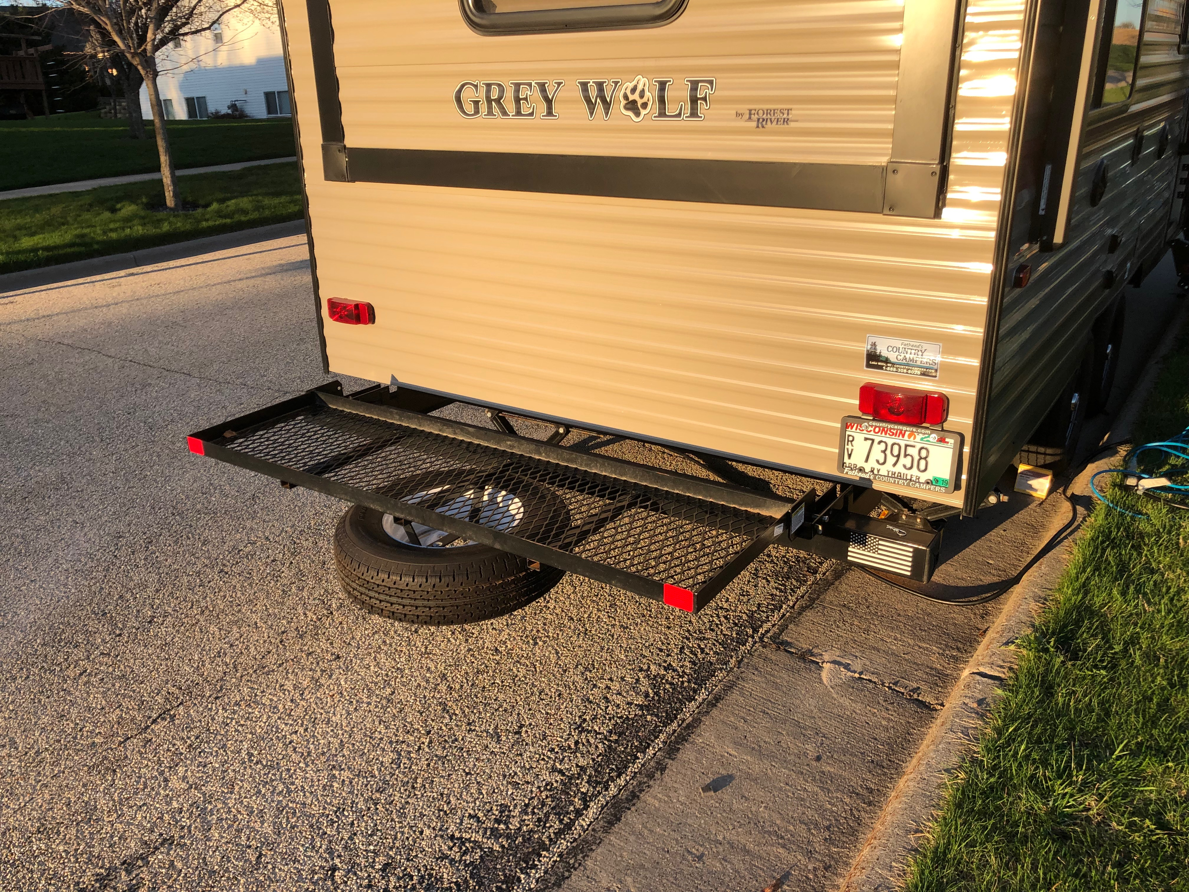 This folds up when not in use. . Forest River Cherokee Grey Wolf 2018