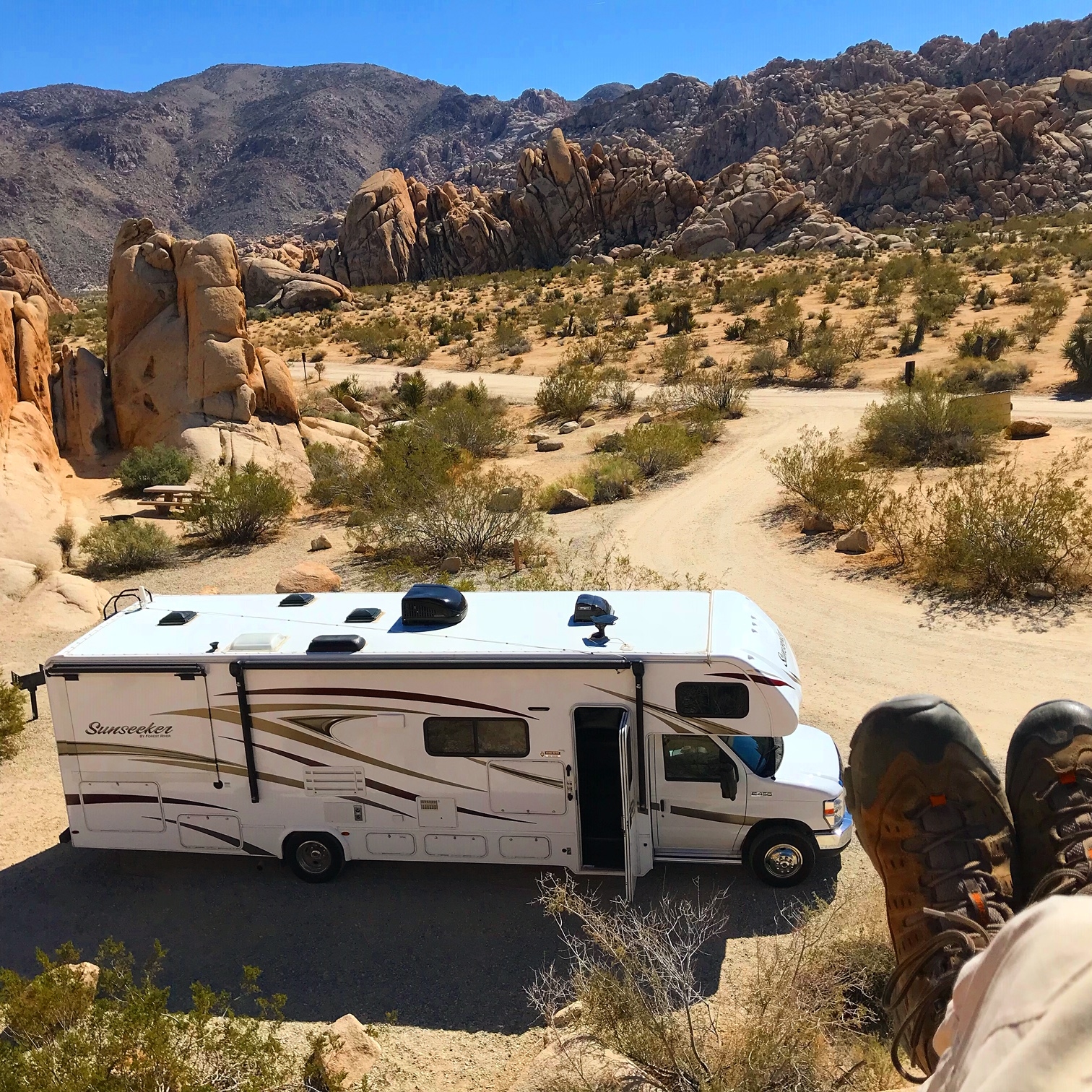 Our beautiful RV in Joshua Tree. Forest River Sunseeker 2018