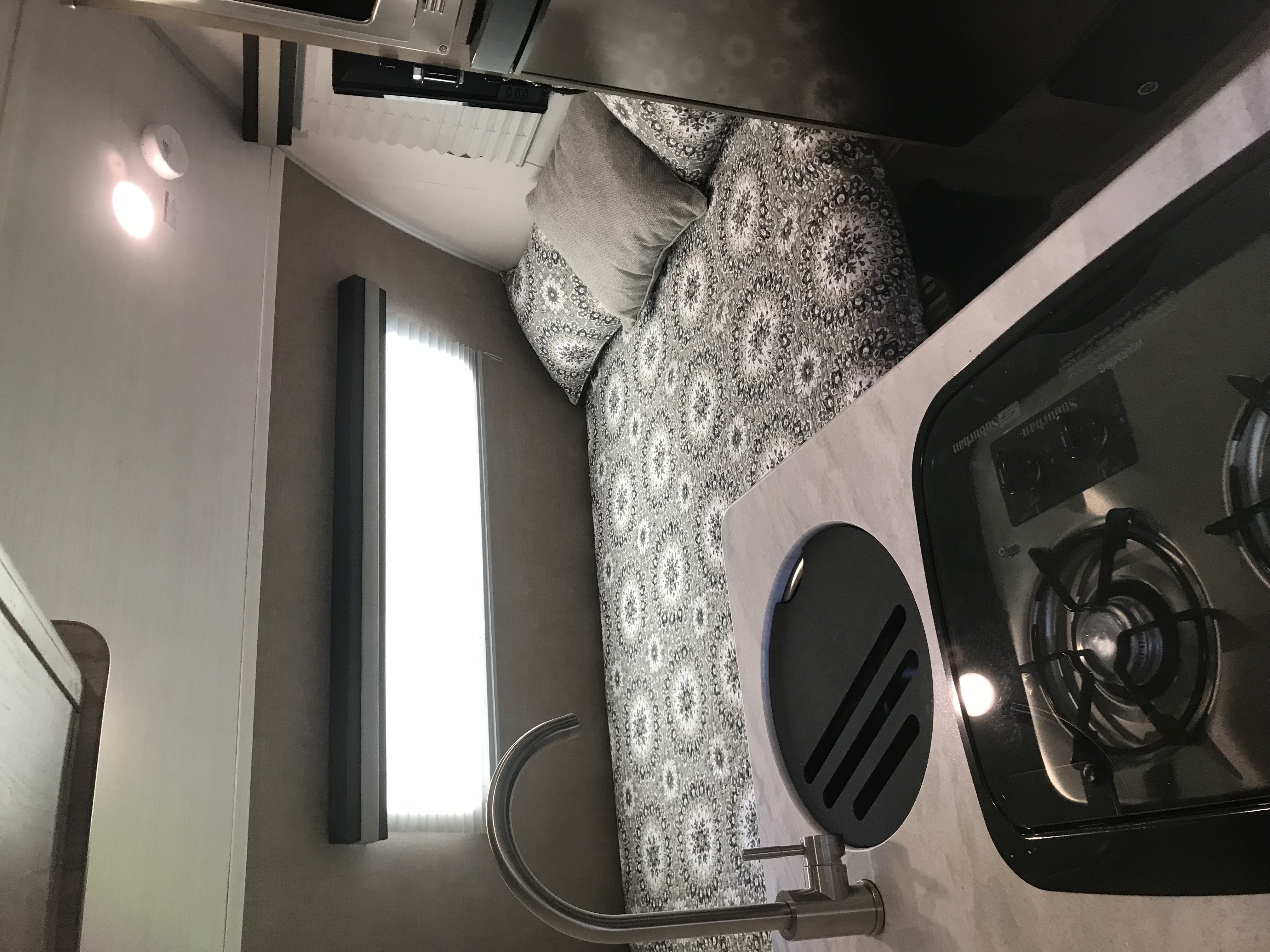 This is a shot of the dining table when it is converted to a queen size bed. . Forest River R-Pod 172 2019