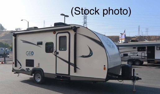 Stock photo of the 18RDB's exterior. Ours has a slightly different color scheme.. Gulf Stream Gulf Breeze Ultra Lite 2018
