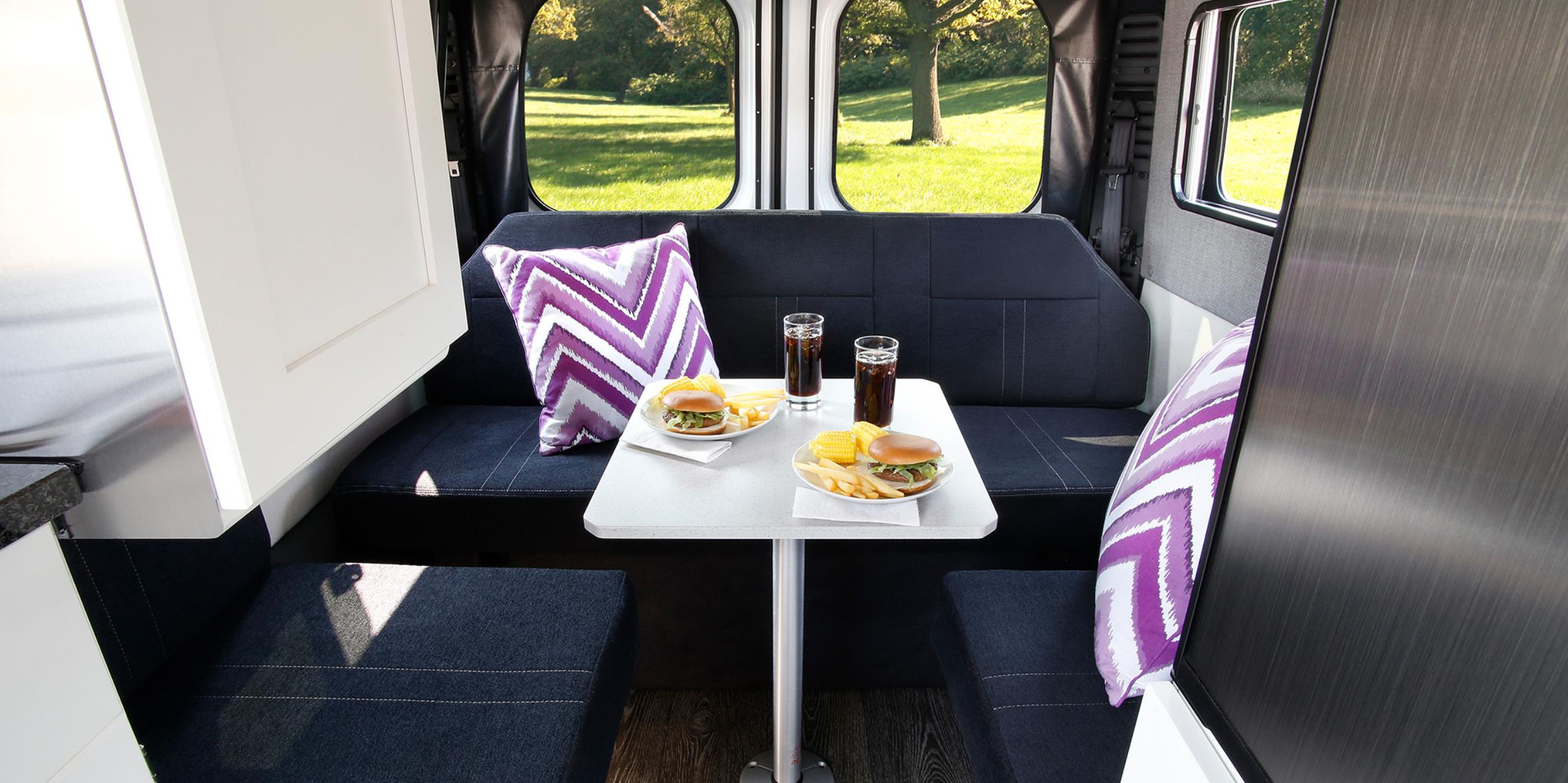Rear dining area sits up to 5. Seats 3 while driving. (Source: Roadtrek). Roadtrek Zion SRT 2019