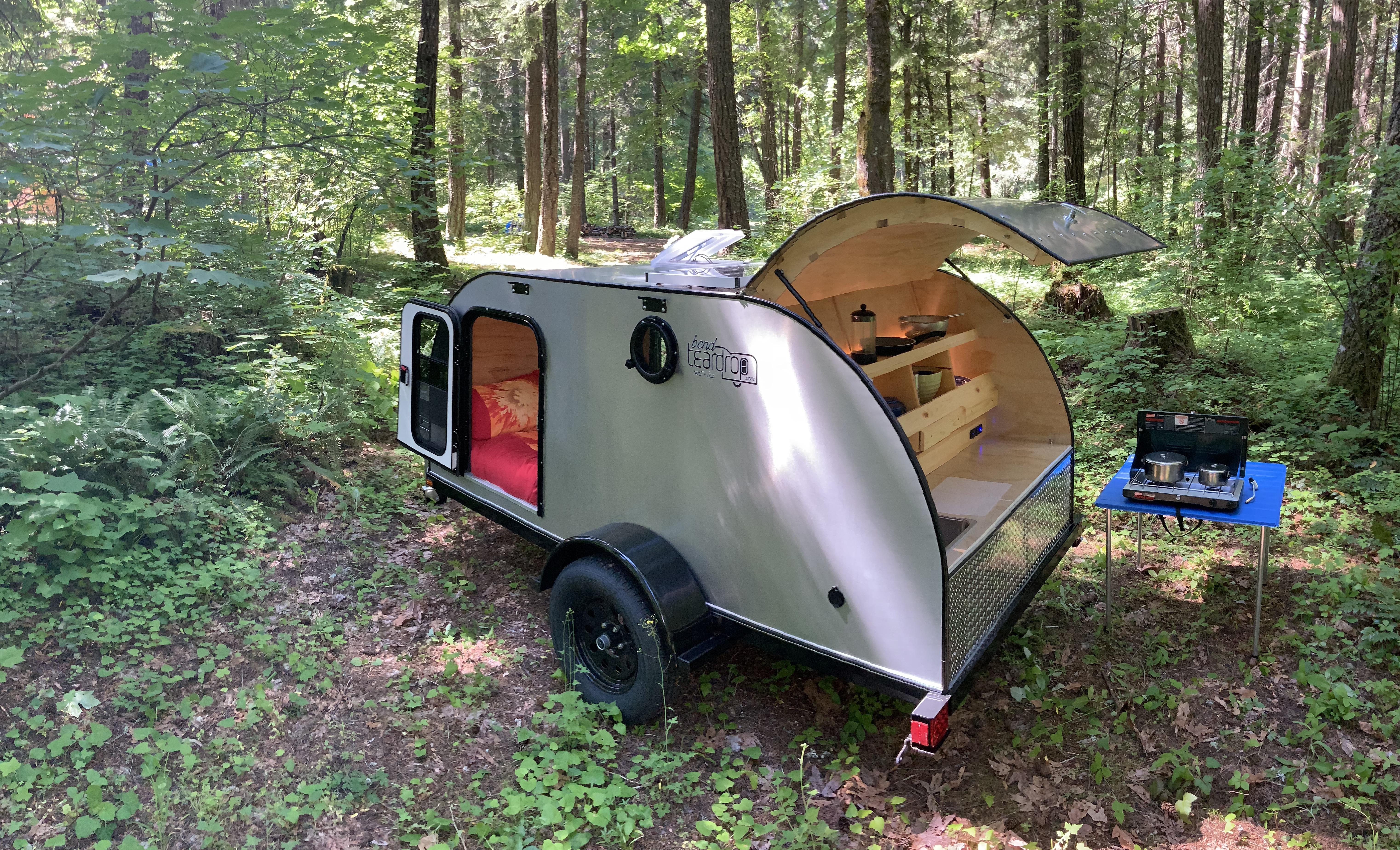 trailer in forest camp. Bend Teardrop 5' x 10' 2019