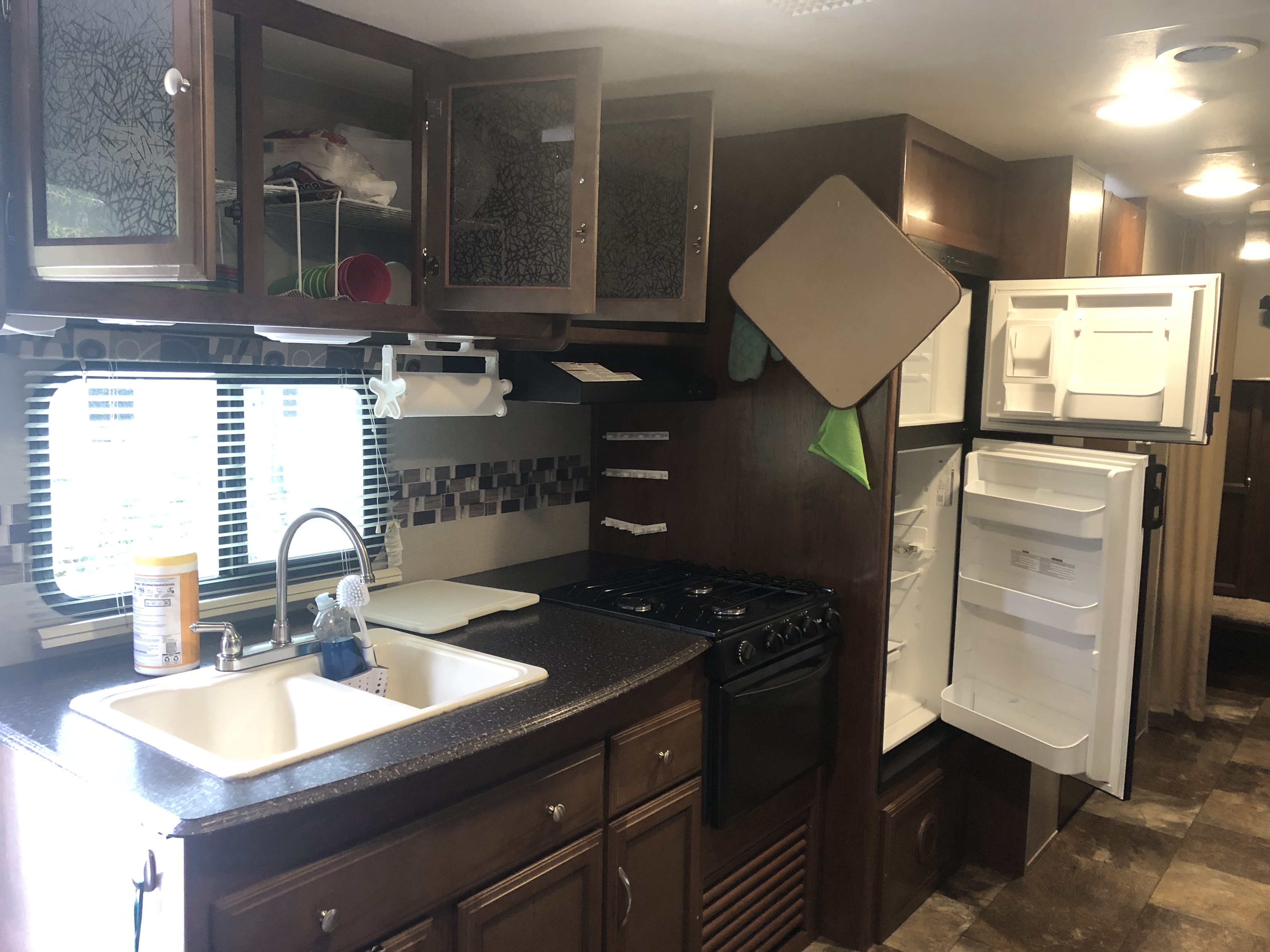 Kitchen looking from master bedroom. . Coachmen Freedom Express 2017
