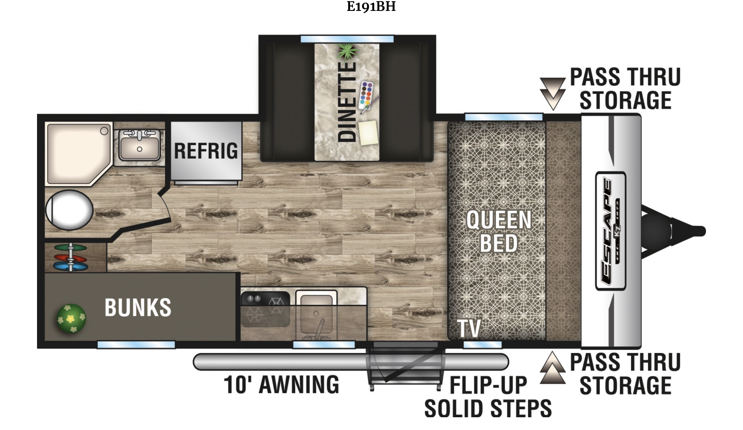 RV Floor Plan. K-Z Manufacturing Spree Escape 2017
