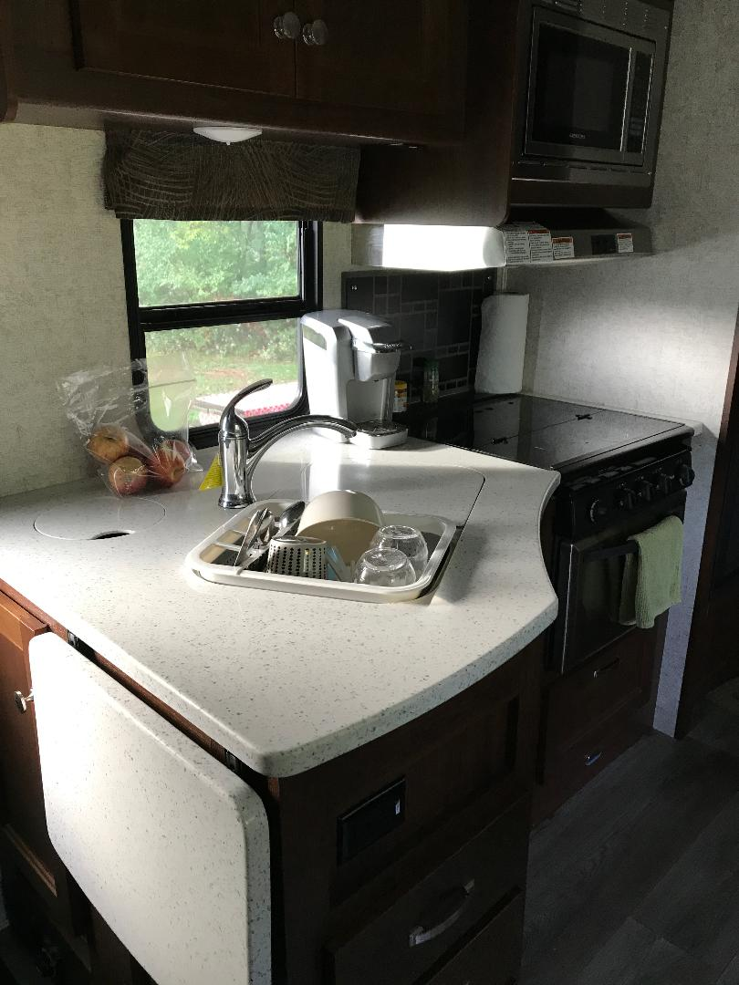 Kitchen sink, expandable counter, stove/oven, micro-wave above, just across from dinette.. Forest River Forester 2017