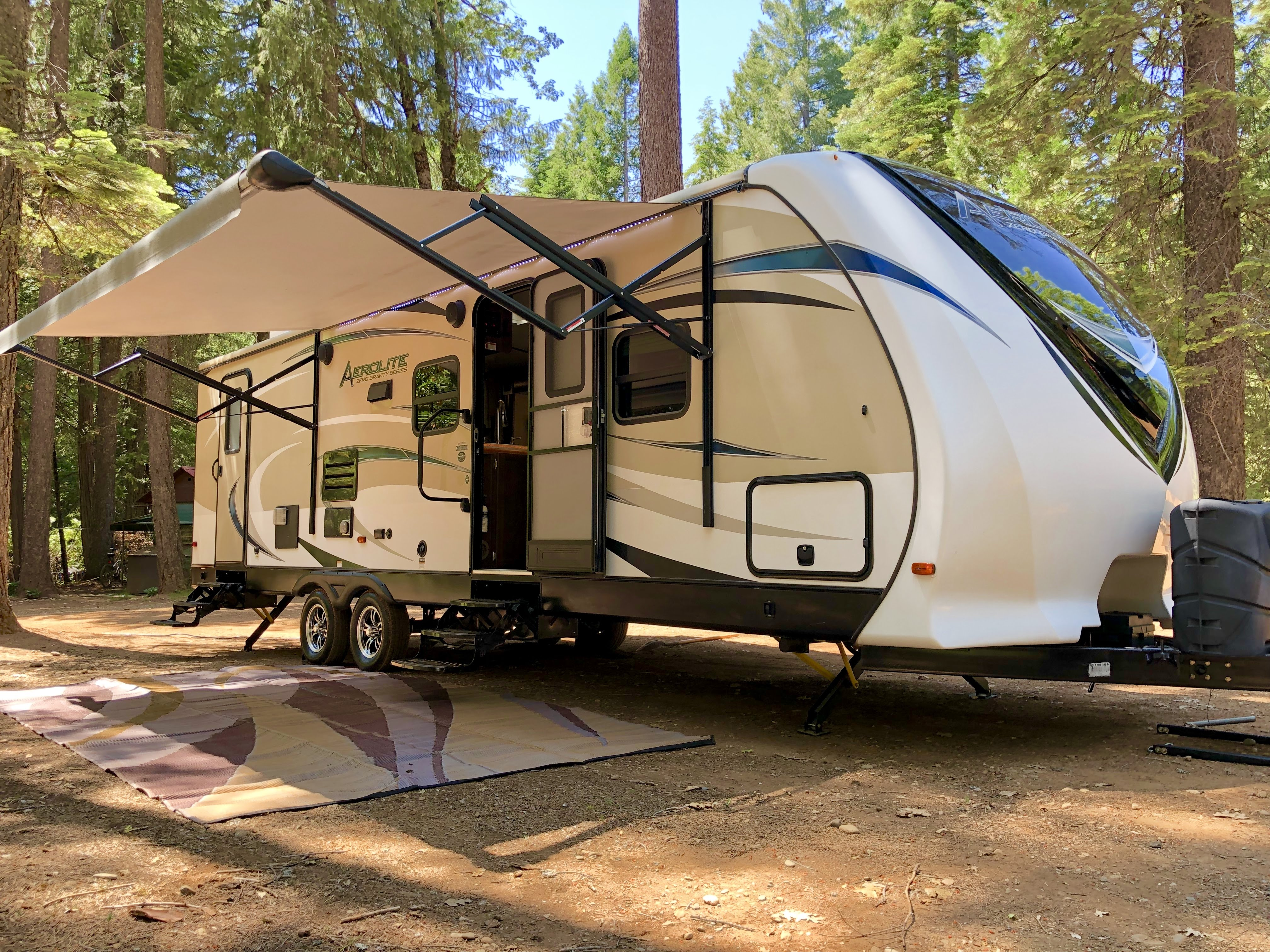Camping in the woods!. Aerolite Travel Trailer 2017