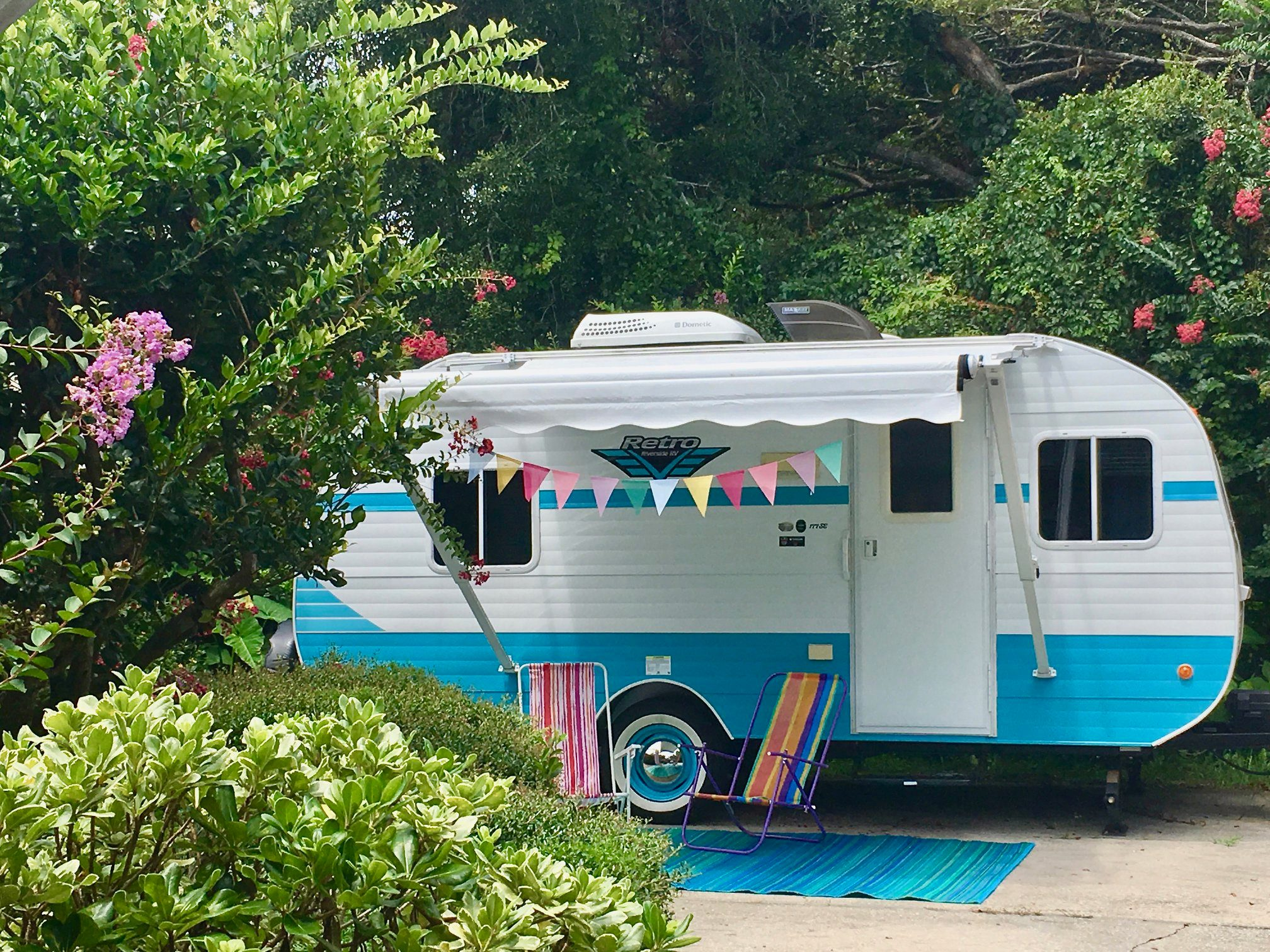 Cupcake would love to decorate your campsite...   Adorable retro-inspired design augmented with wood interior.  Clean, safe, comfortable. She's a beauty inside and out. . Riverside Rv Retro 2017