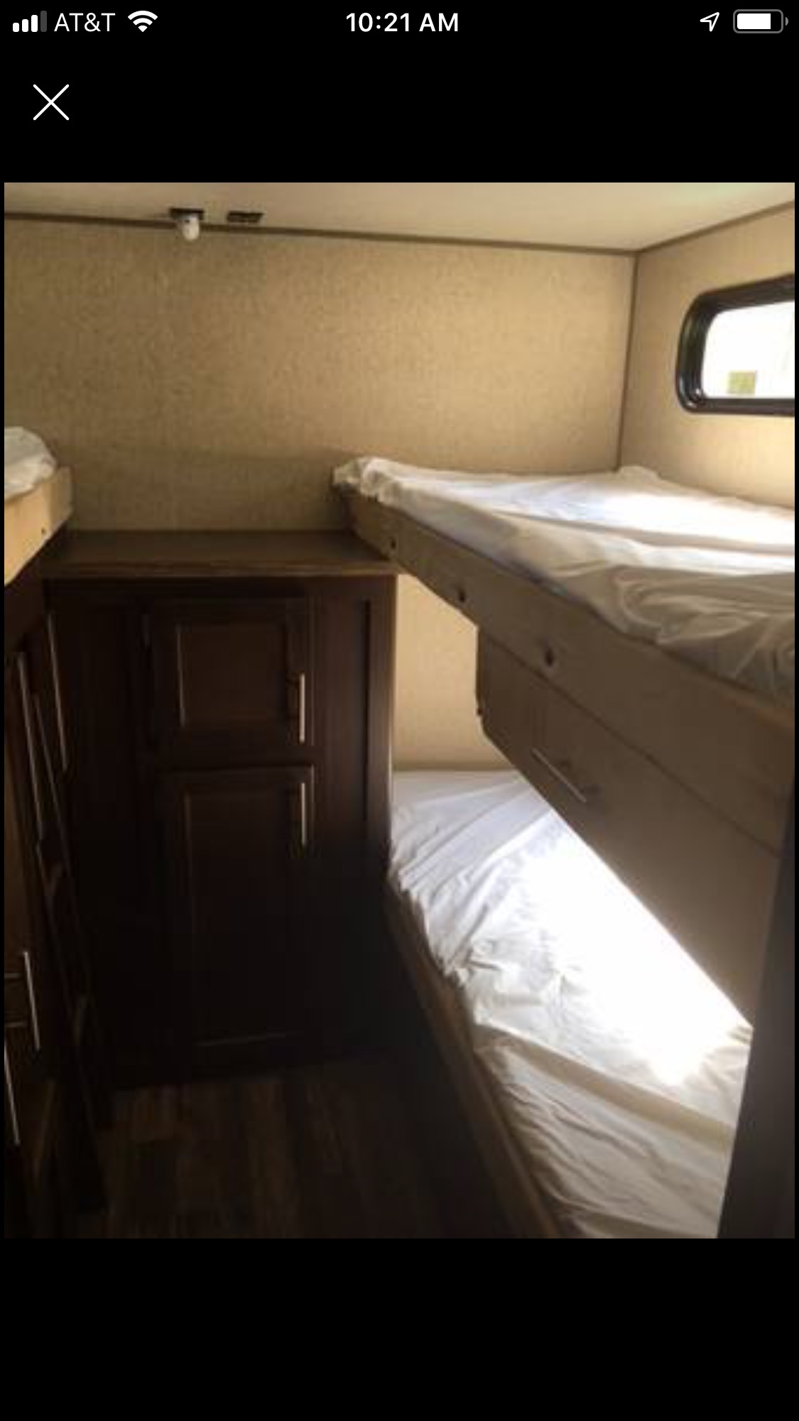 Triple bunk room with ample storage. Forest River Cherokee Grey Wolf 2016