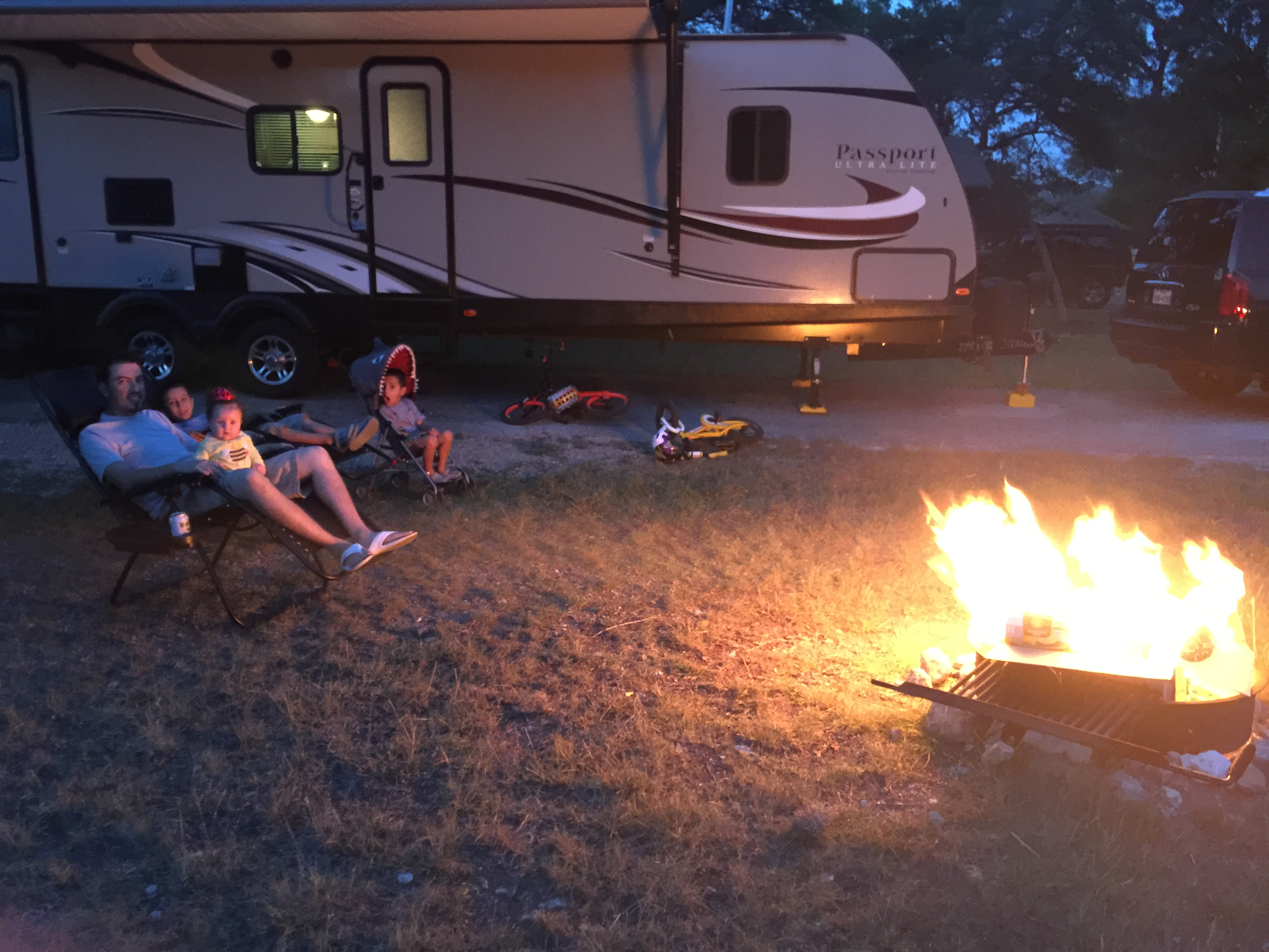 Enjoy a campfire and listen to some tunes with the outdoor speakers. . Keystone Passport 2017