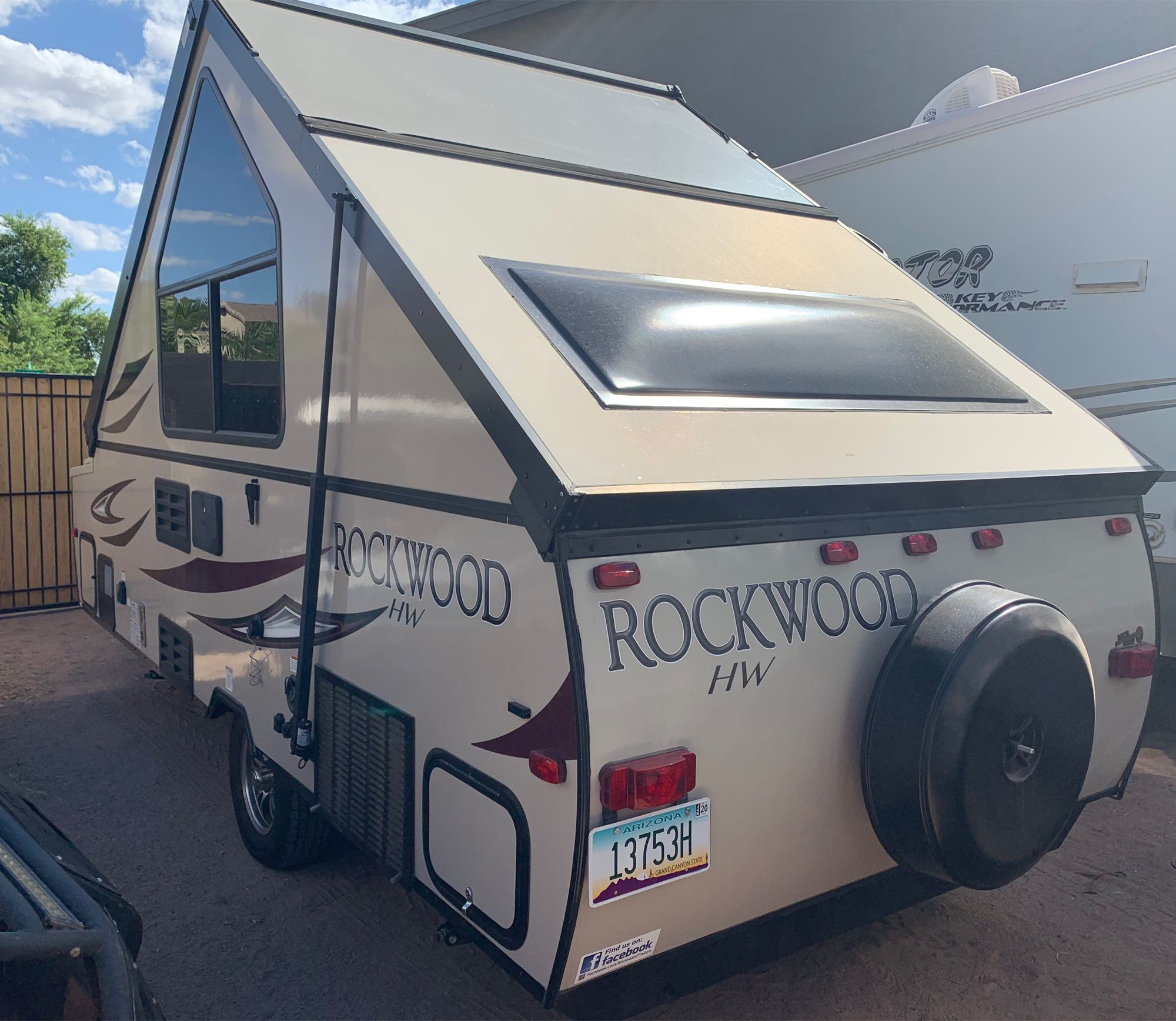 Rear view of trailer set up.. Forest River Rockwood High Wall 2017