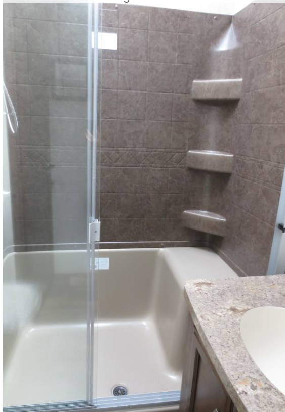 Adult size shower with a 10 gallon water heater.. Forest River Sandpiper 2017