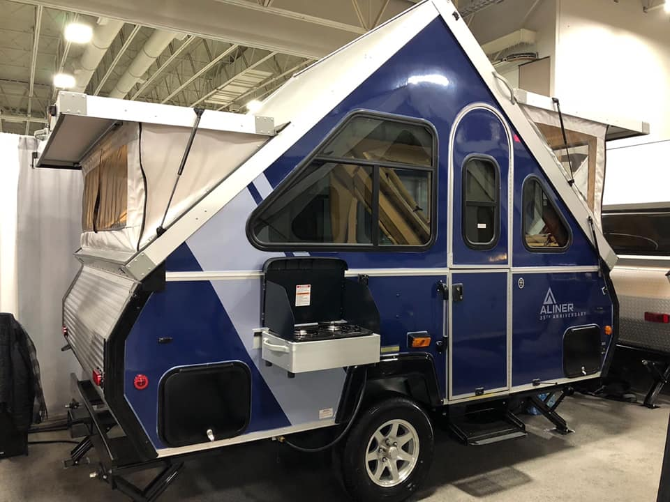 A-Fame Aliner Classic with portable indoor/outdoor stove and two soft panoramic view dormers.. A-Liner Classic 2019