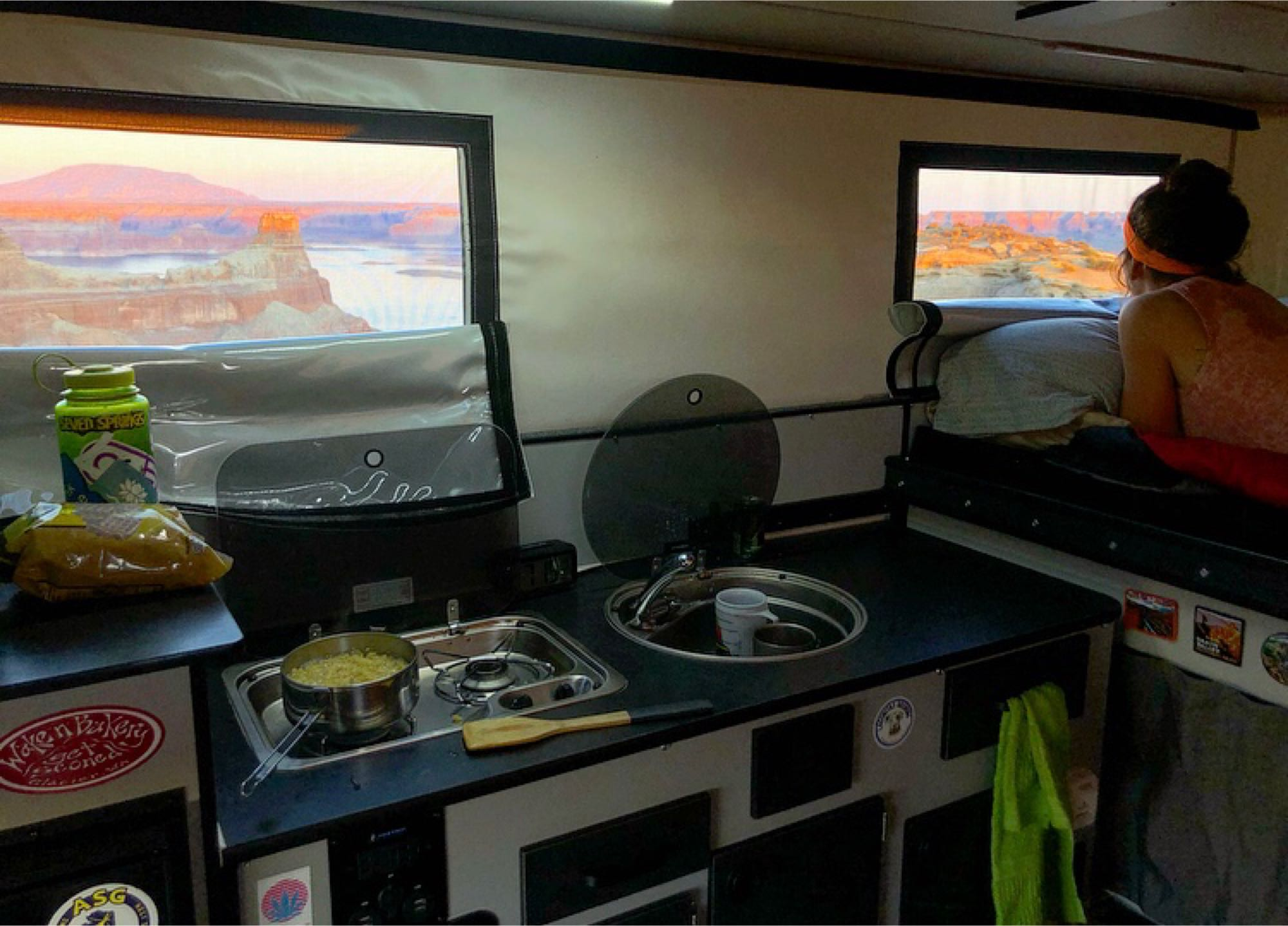 a lot of big windows so there's always a view, even when in the kitchen. this is off a remote dirt road on lake Powell. Four Wheel Campers Hawk 2019
