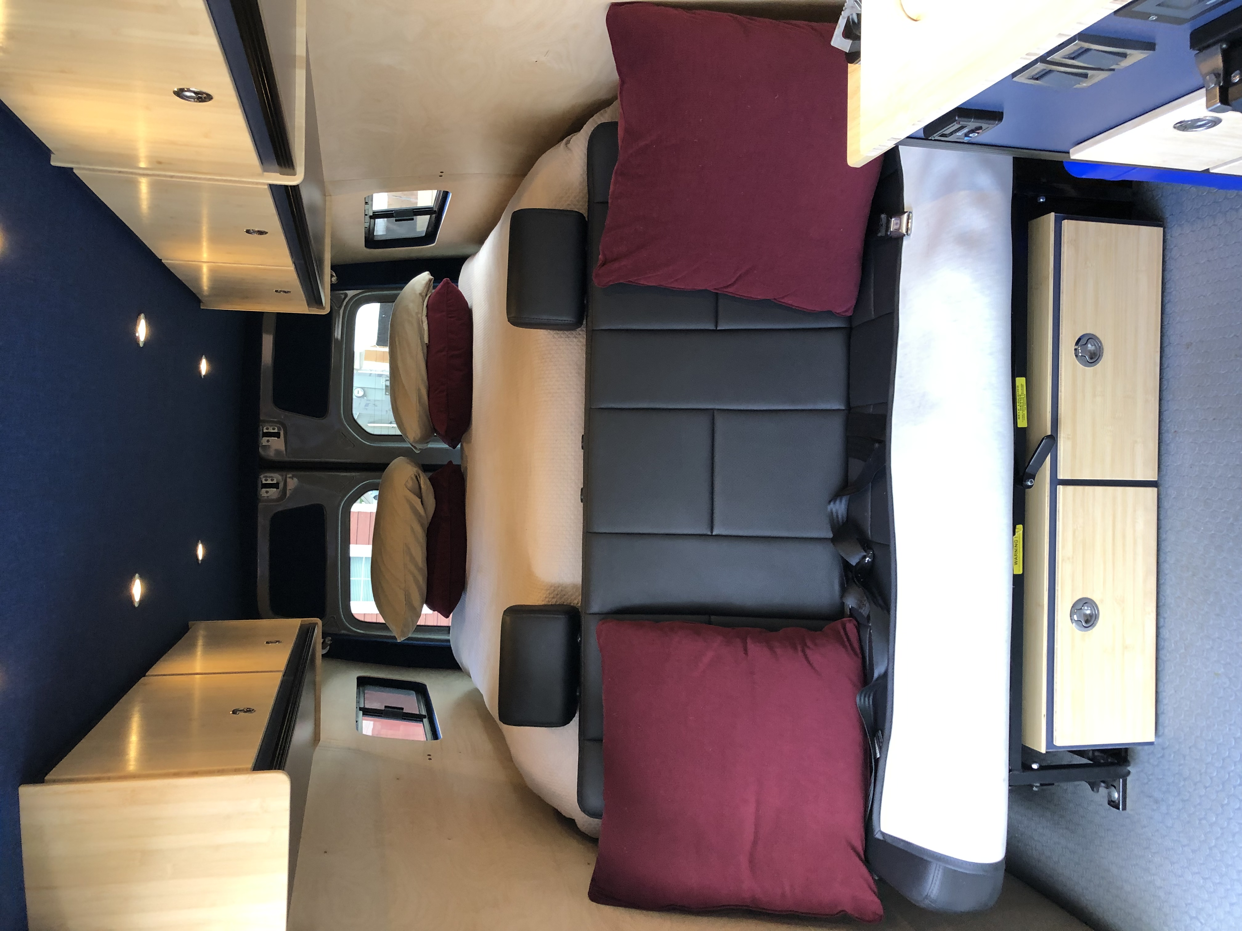 Queen size amazing bed. Reading lamps on both sides controlled while snuggled in bed. Sofa with seat belts for additional passengers. . Mercedes-Benz Other 2018