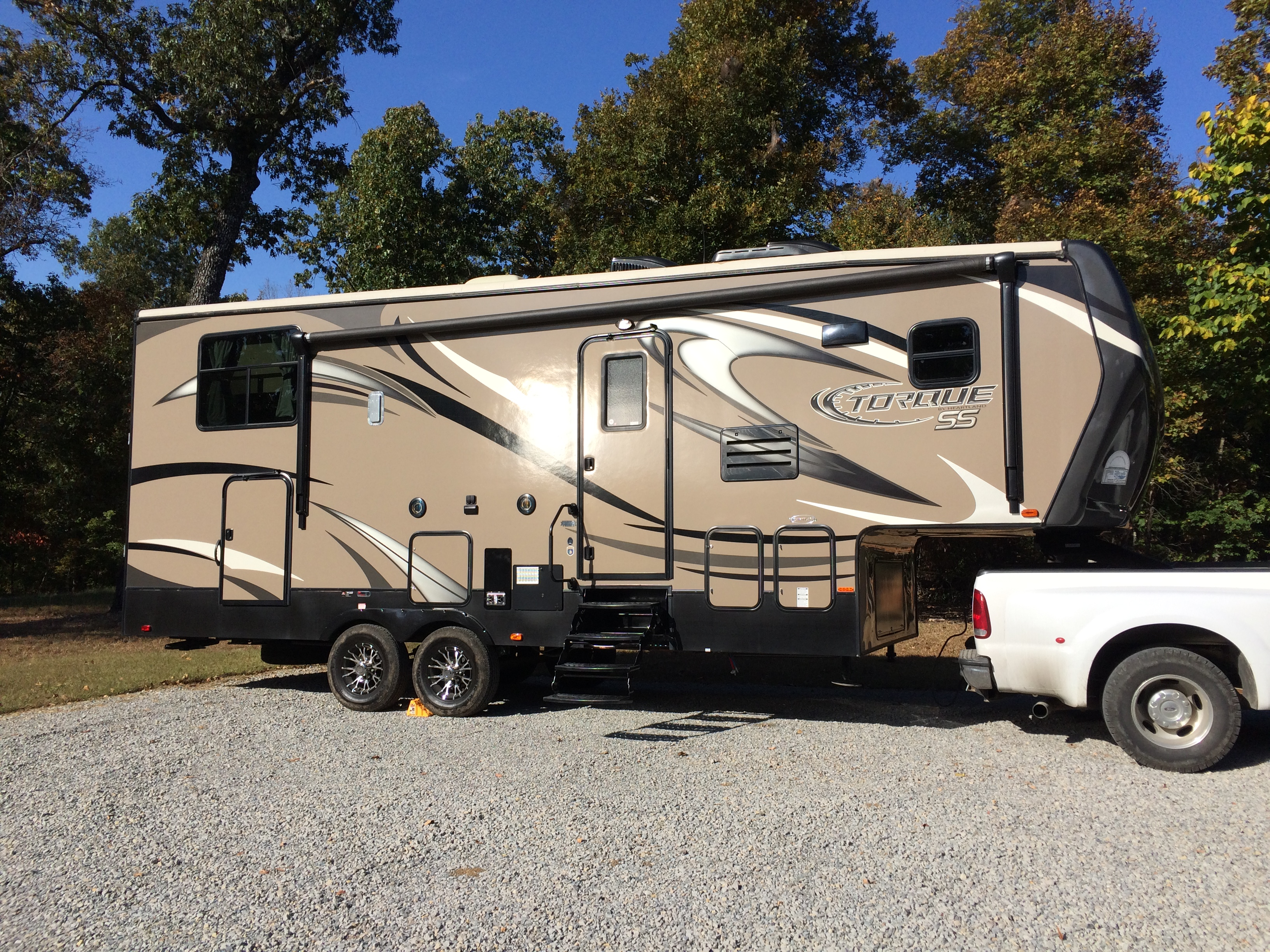You can see the awning runs almost the full length of the RV and has LED lights. Great for the evenings!. Heartland Torque 270HG 2014