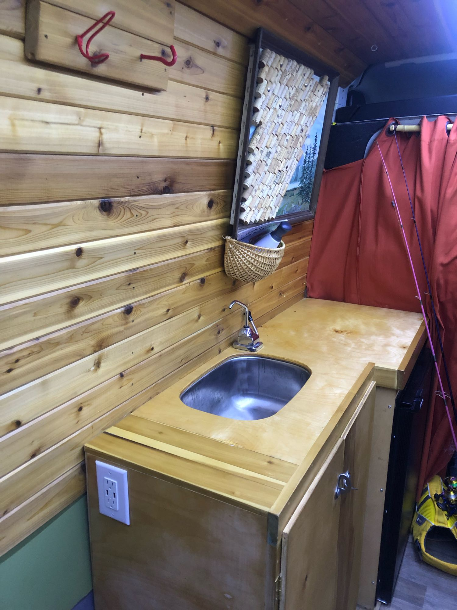 Custom wood counters and a sink. Dodge promaster3500ecodiesel-highroof 2015