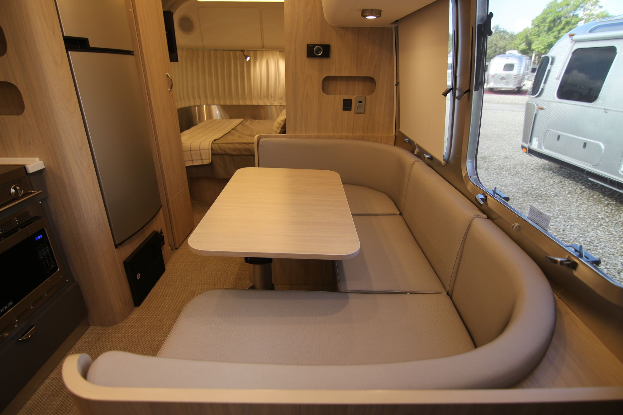 Dinette Table that converts to twin bed. Airstream Globetrotter 2020