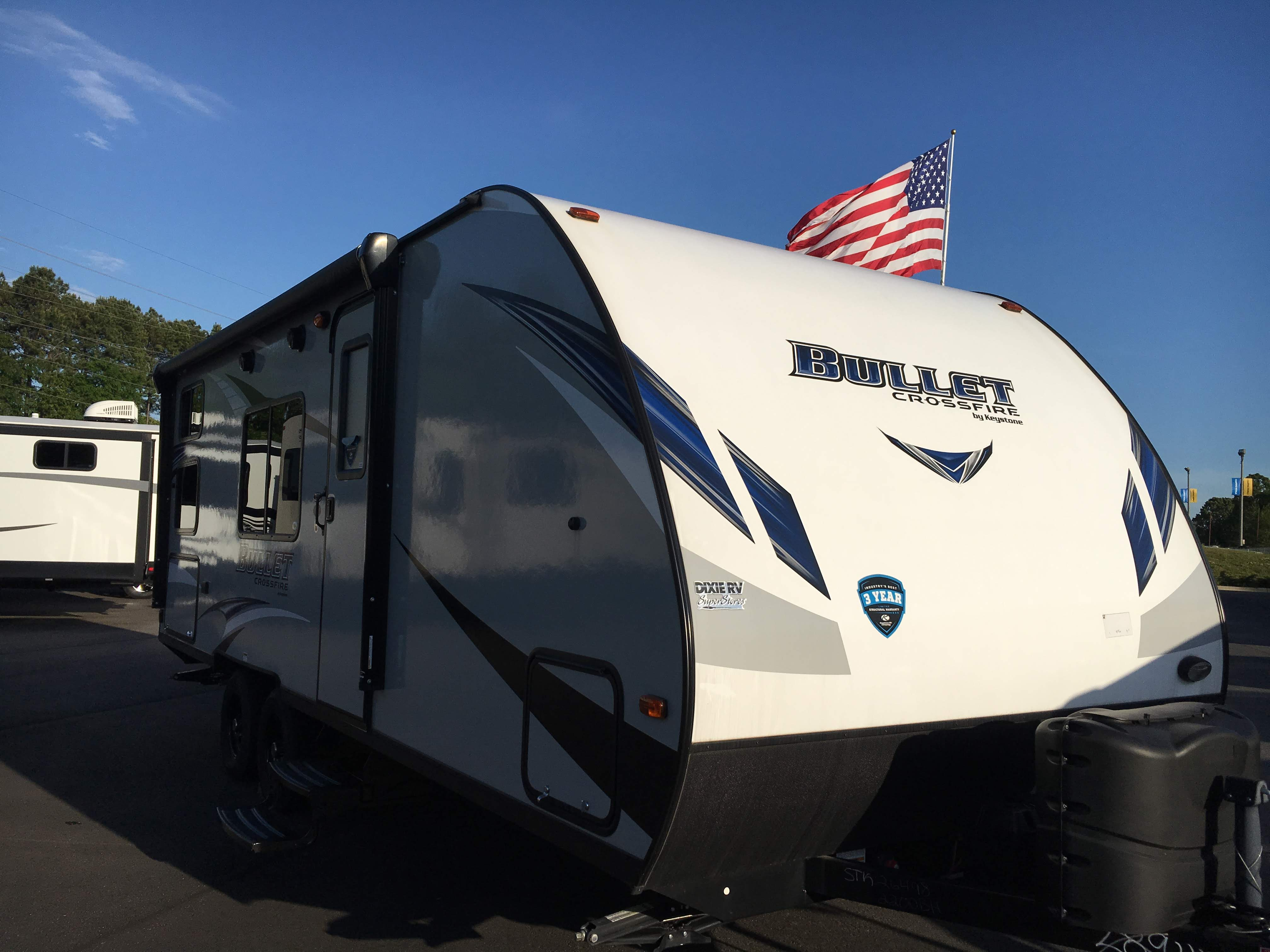 RV on the day we bought it. Still as beautiful to us. Keystone Bullet 2018