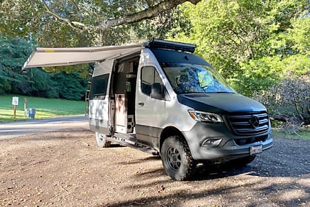 One touch to deploy the awning.  Will Automatically Retract when wind conditions are to windy so you don't have to worry about it!. Mercedes-Benz 4x4 Sprinter mwb 2020
