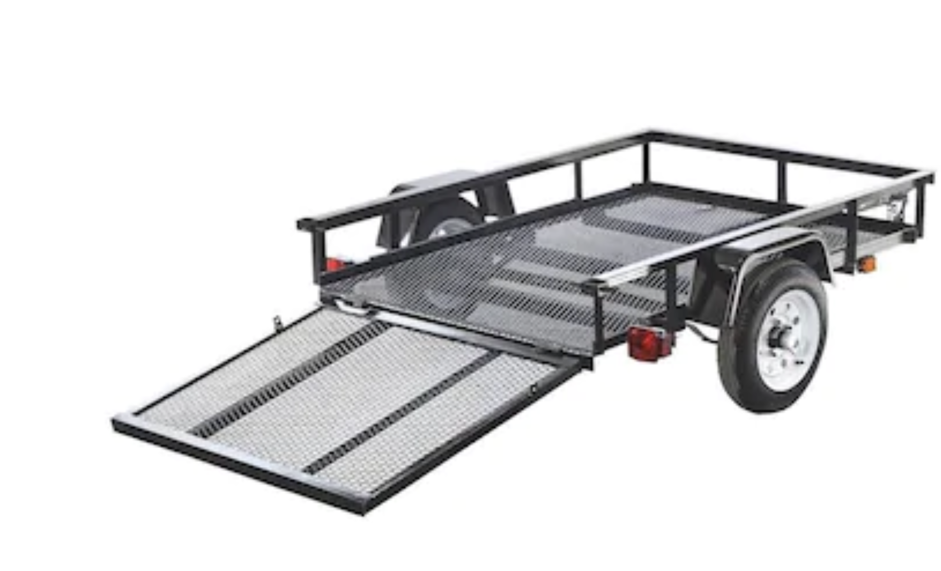 Stock photo of ramp down. Can be removed. . Lippert Components, Inc. 4x6 Trailer 2015