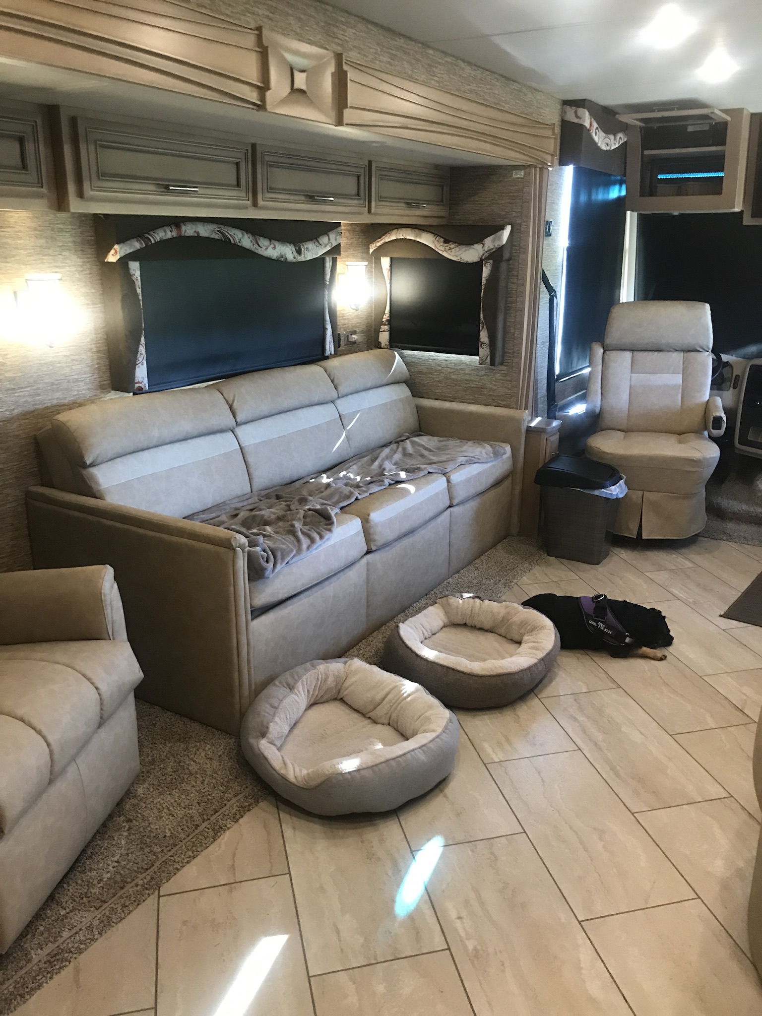 Living Room, queen sleeper bed. Newmar Canyon Star 2018